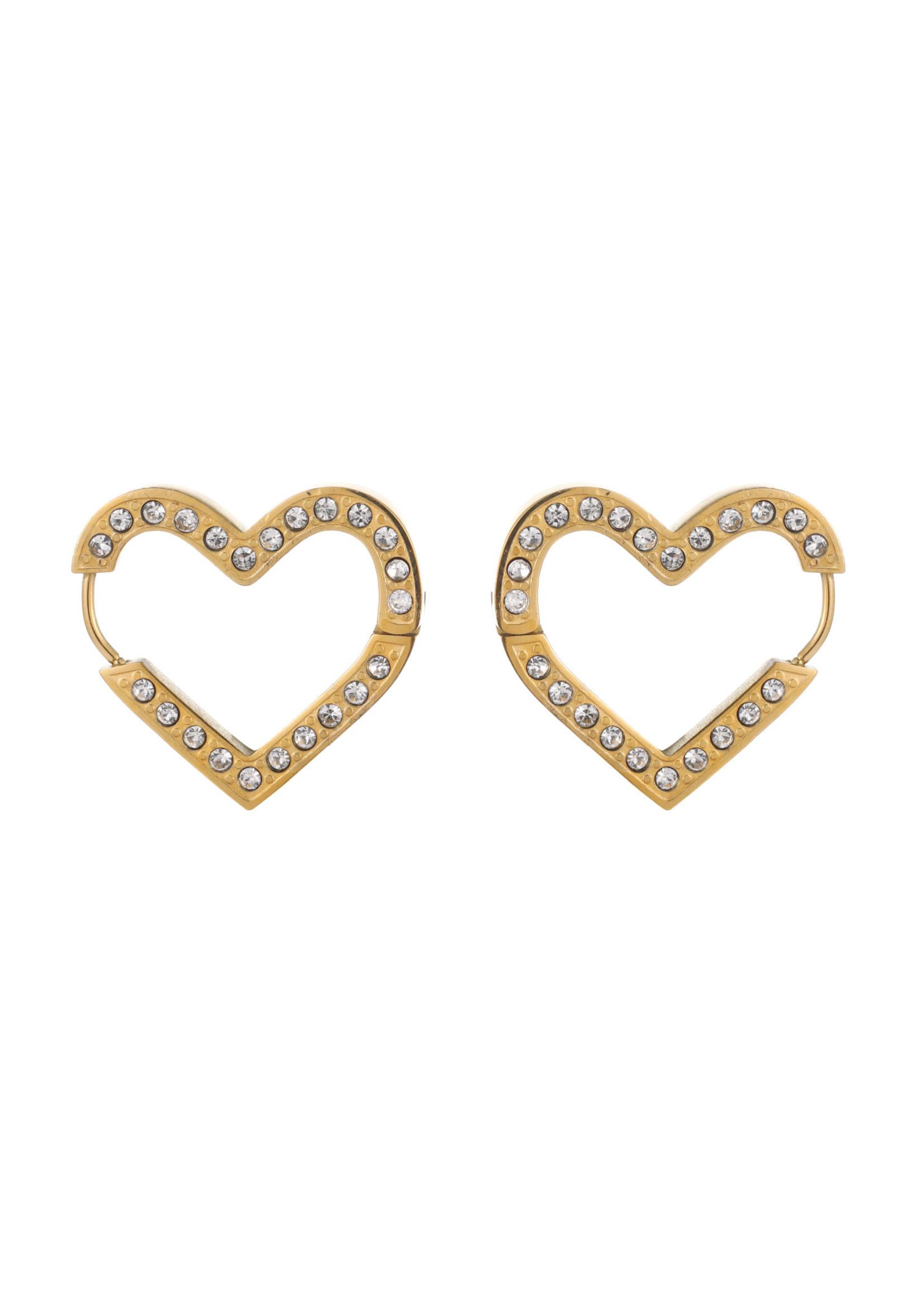 Oorbel goud hart met crystal steentjes E1738-2