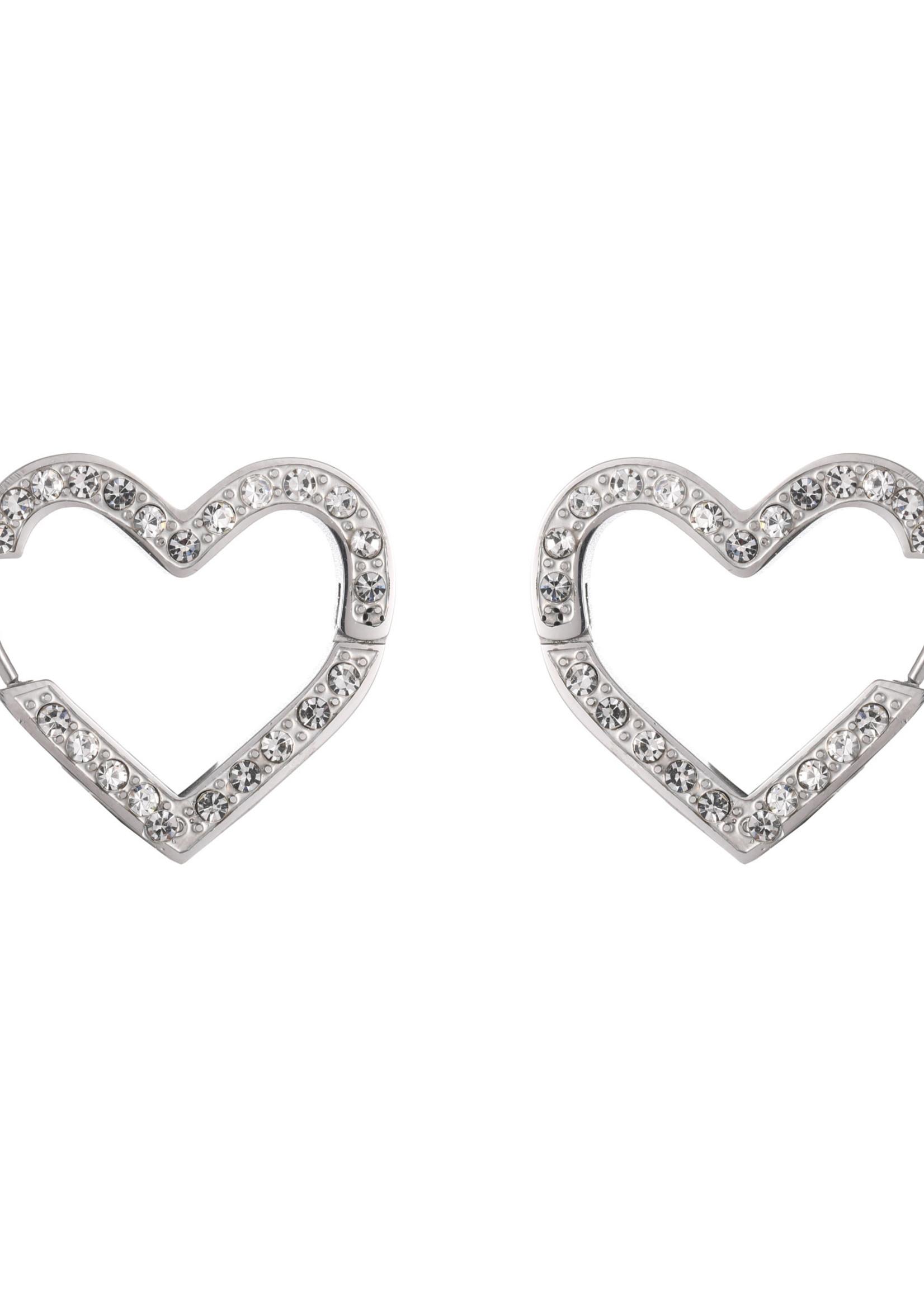 Oorbel zilver hart met crystal steentjes E1738-1