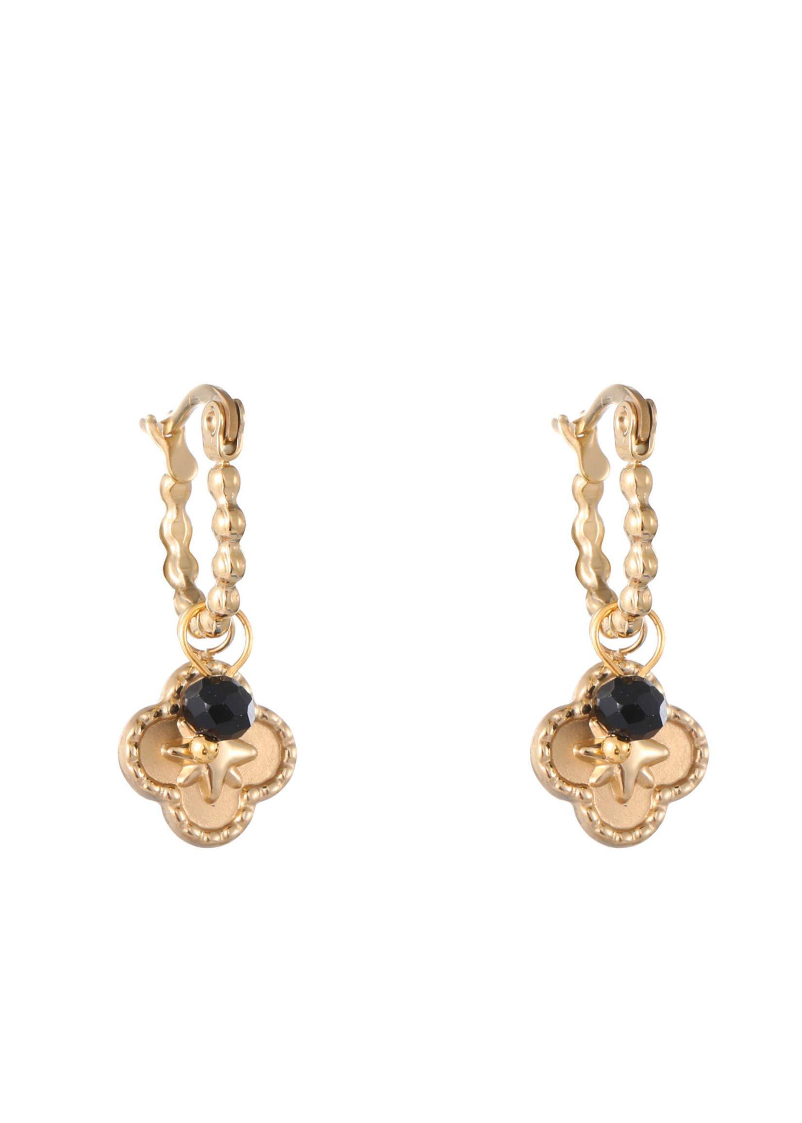 Oorbel goud met hanger en zwart steentje E1741-3