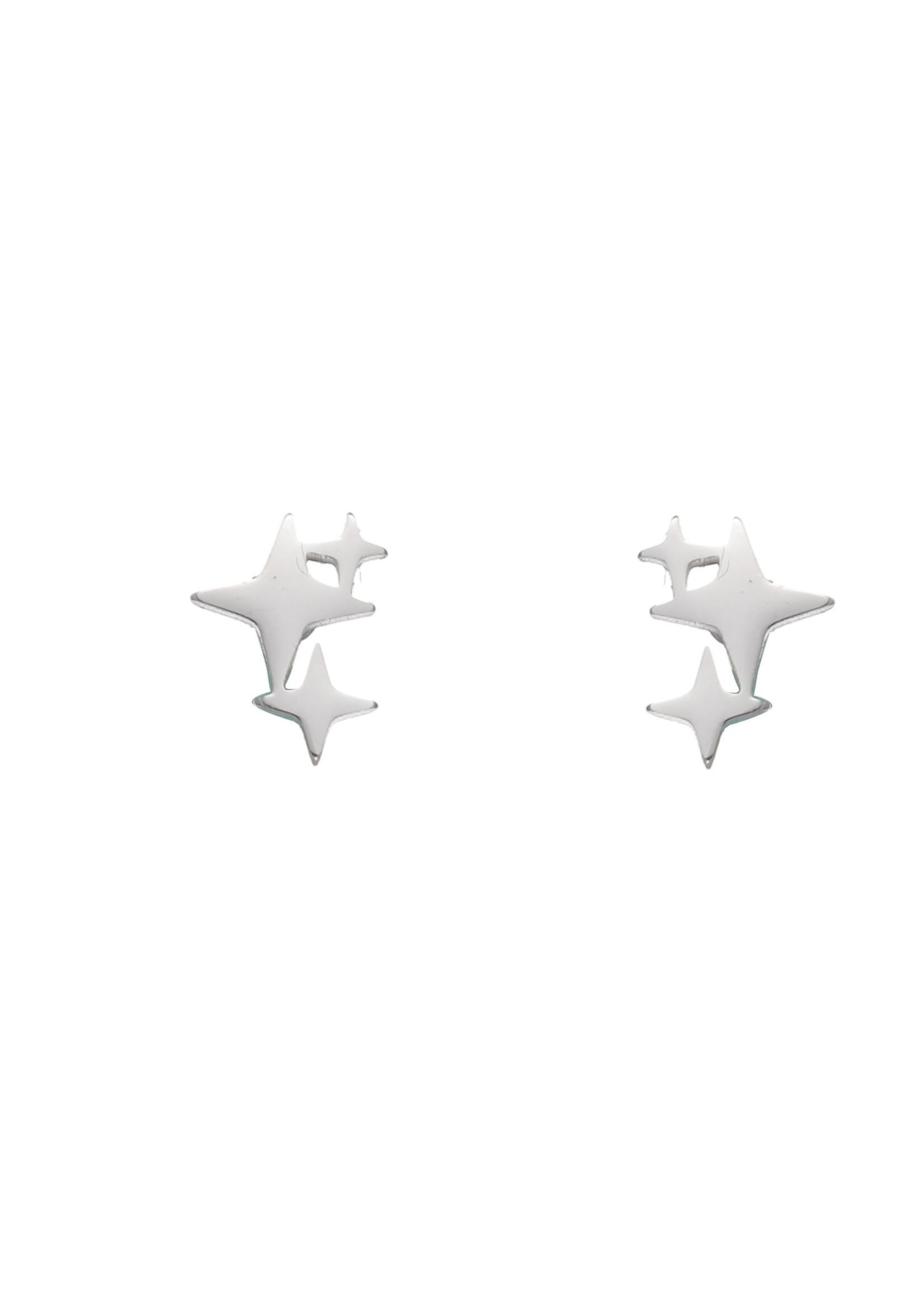 Oorbel zilver poolsterren E1751-1