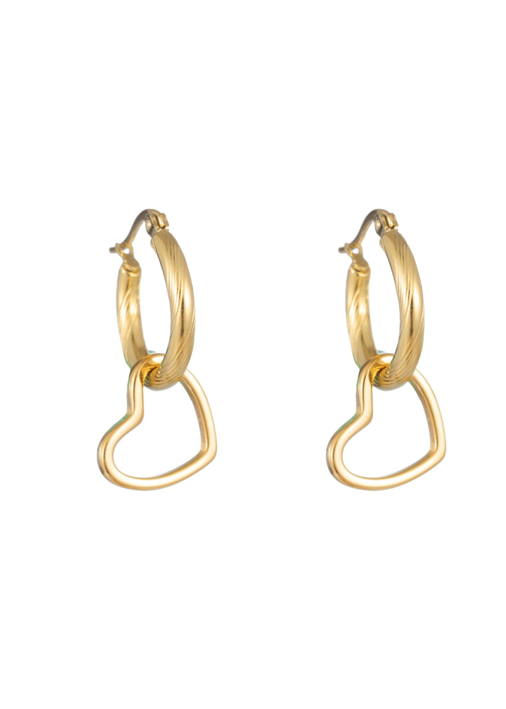 Oorbel goud hanger open hartje E1756-2