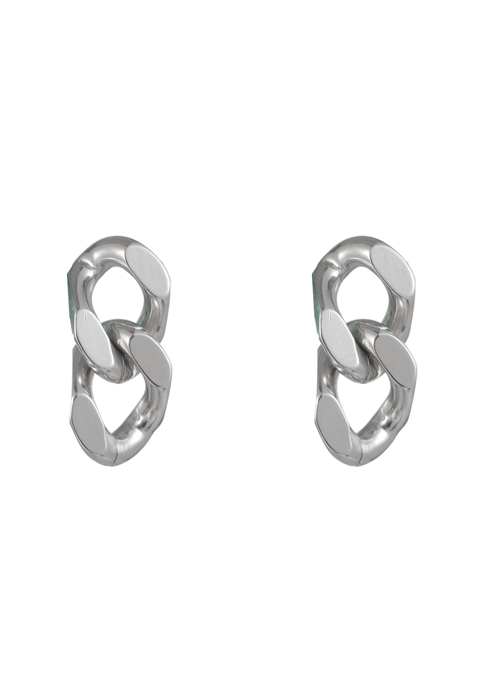 Oorbel zilver grove schakel E1757-1