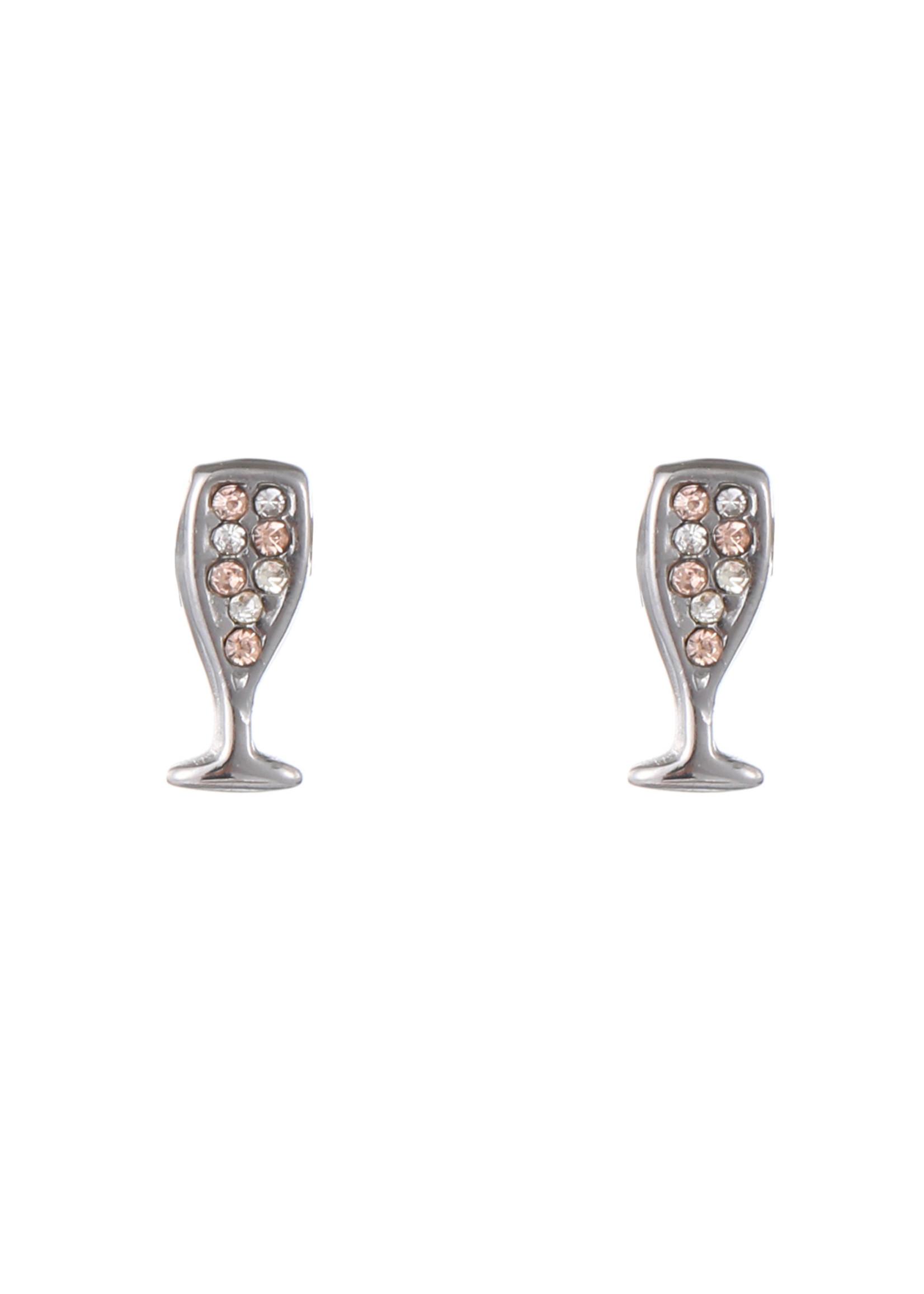Oorbel zilver champagneglas E1768-1