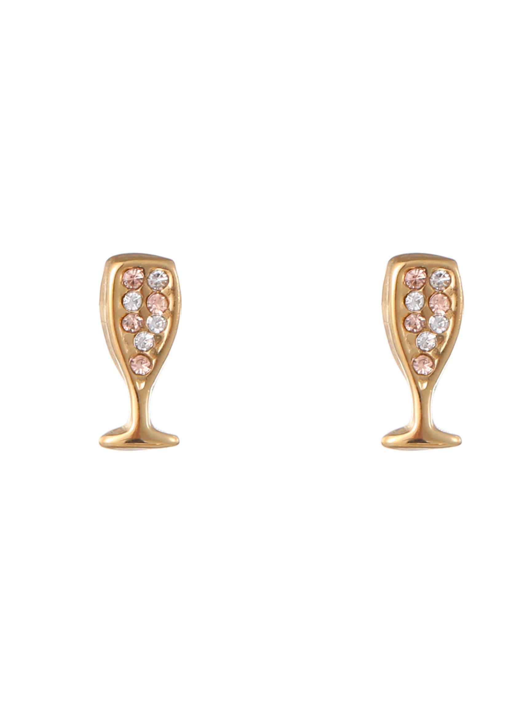 Oorbel goud champagneglas E1768-2