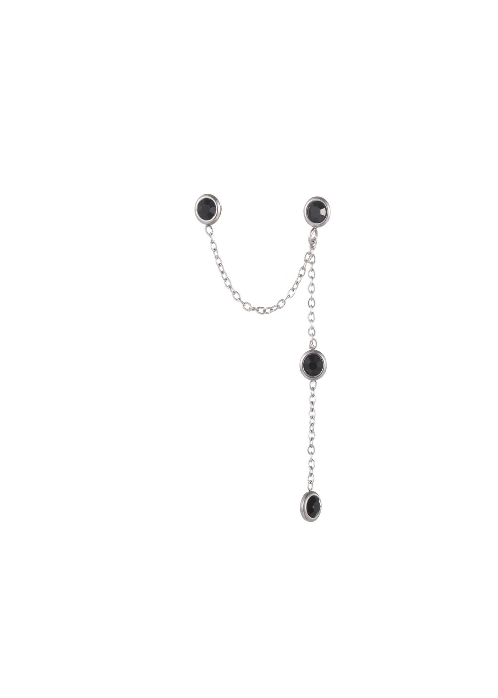 Oorbel zilver zwarte steentjes E1779-1