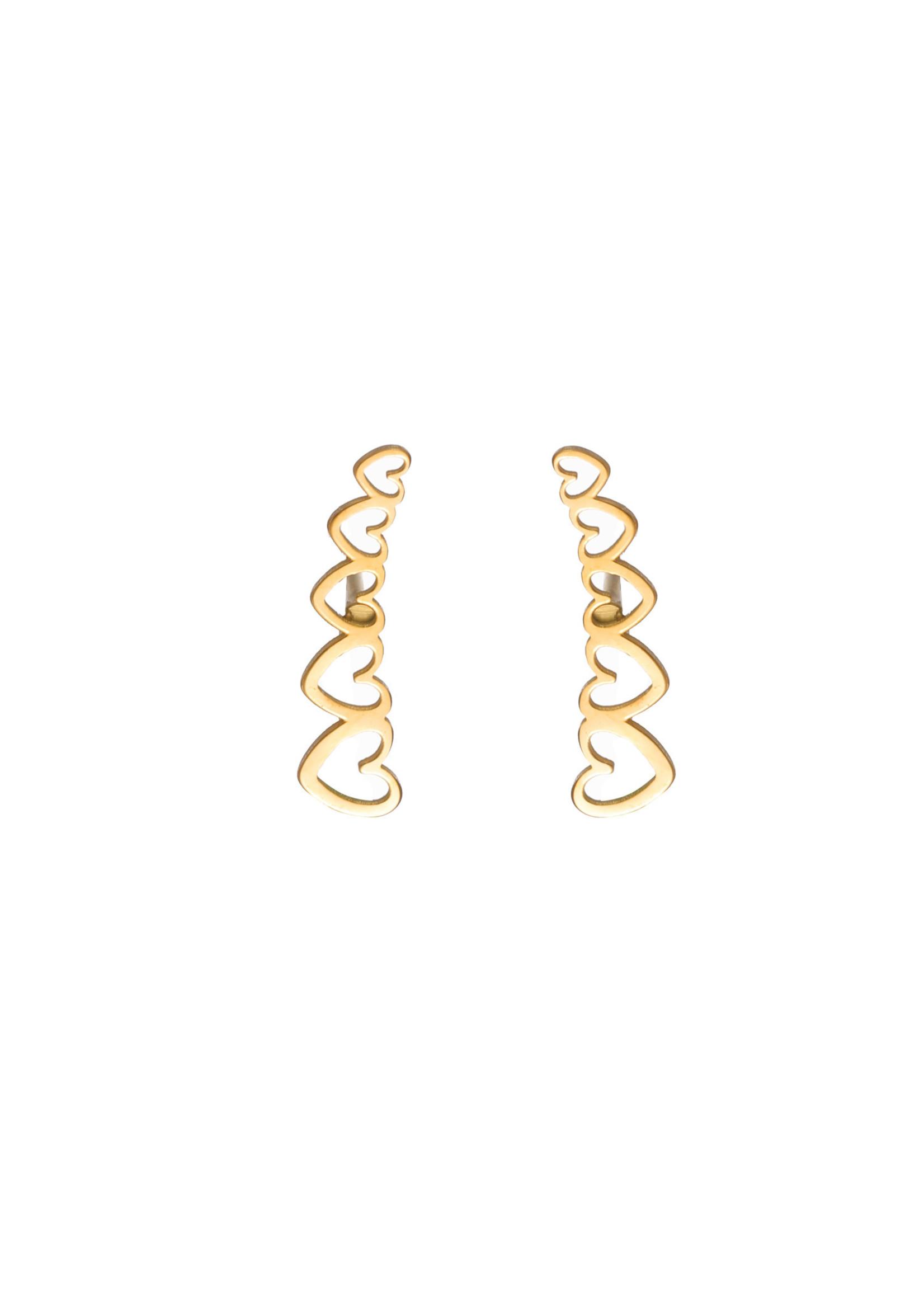 Oorbel goud hartjes E1777-2
