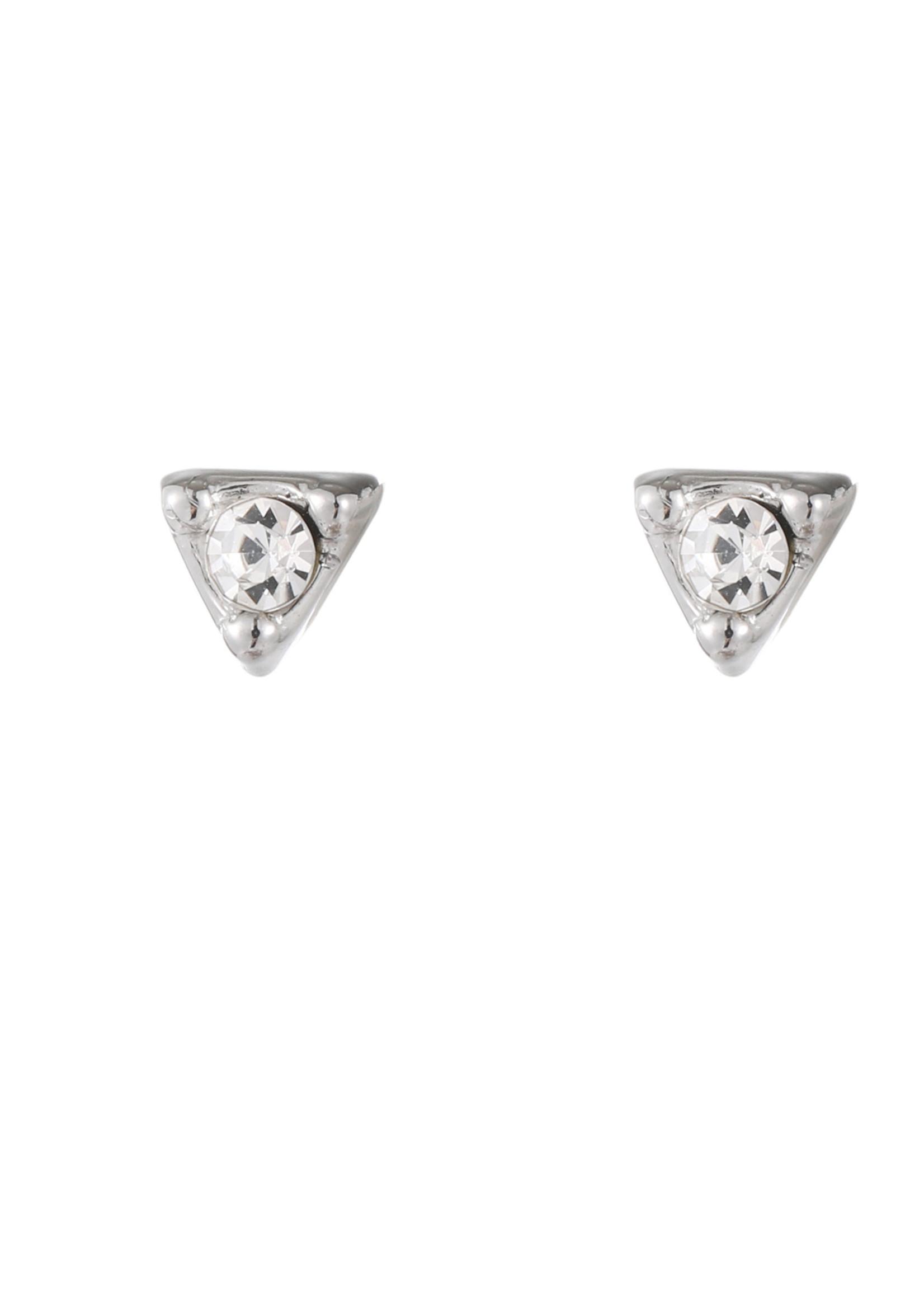 Oorbel zilver driehoek met crystal steen E1783-1
