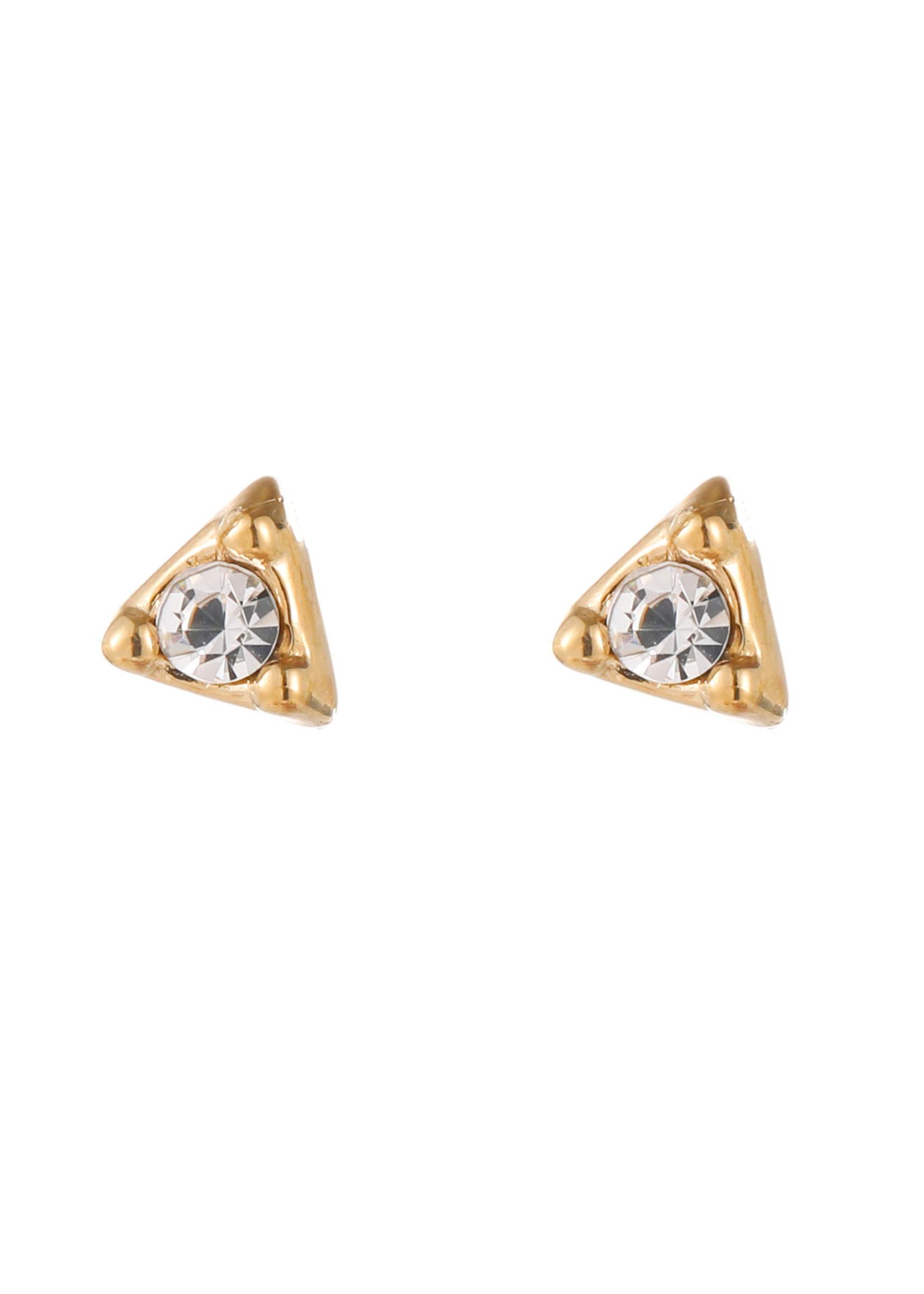 Oorbel goud driehoek met crystal steen E1783-2