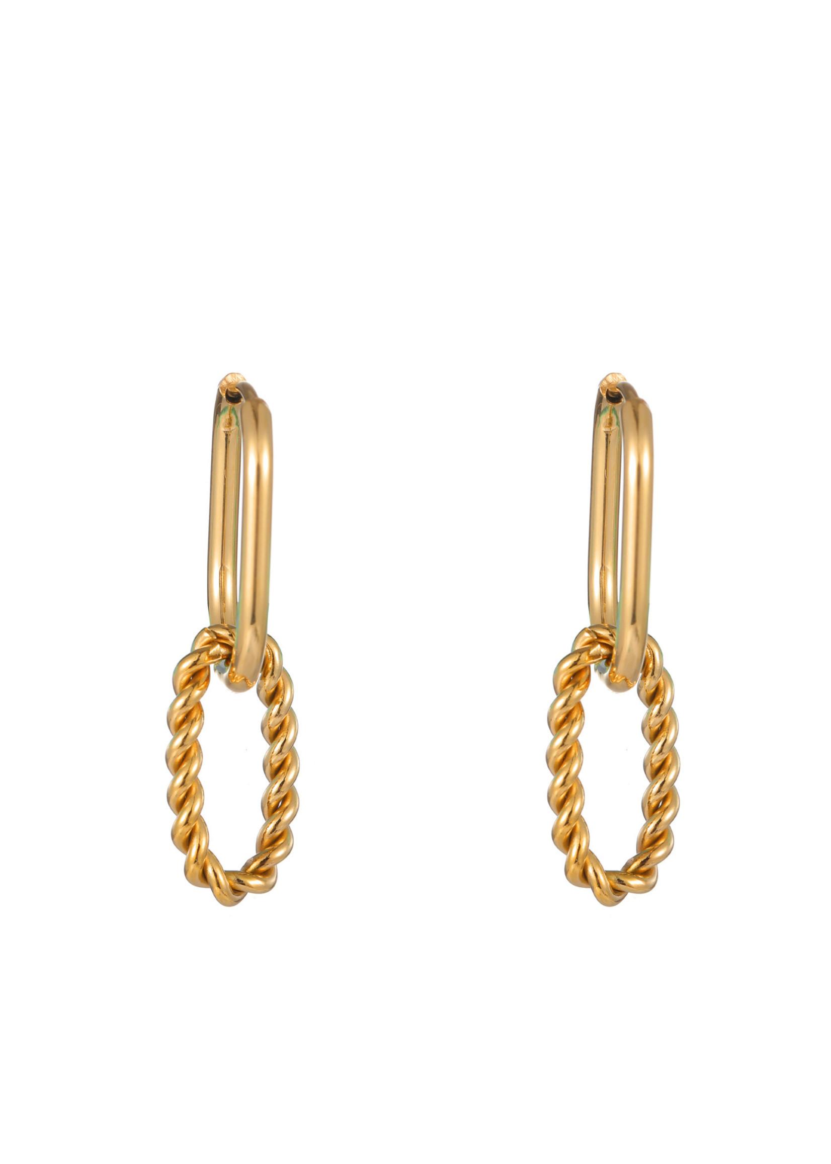Oorbel goud hanger gedraaid en glad E1786-2