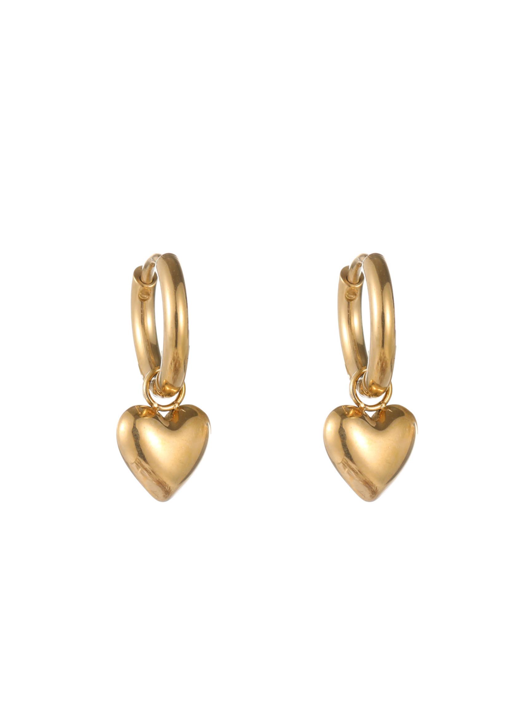 Oorbel goud hanger hartje E1799-2