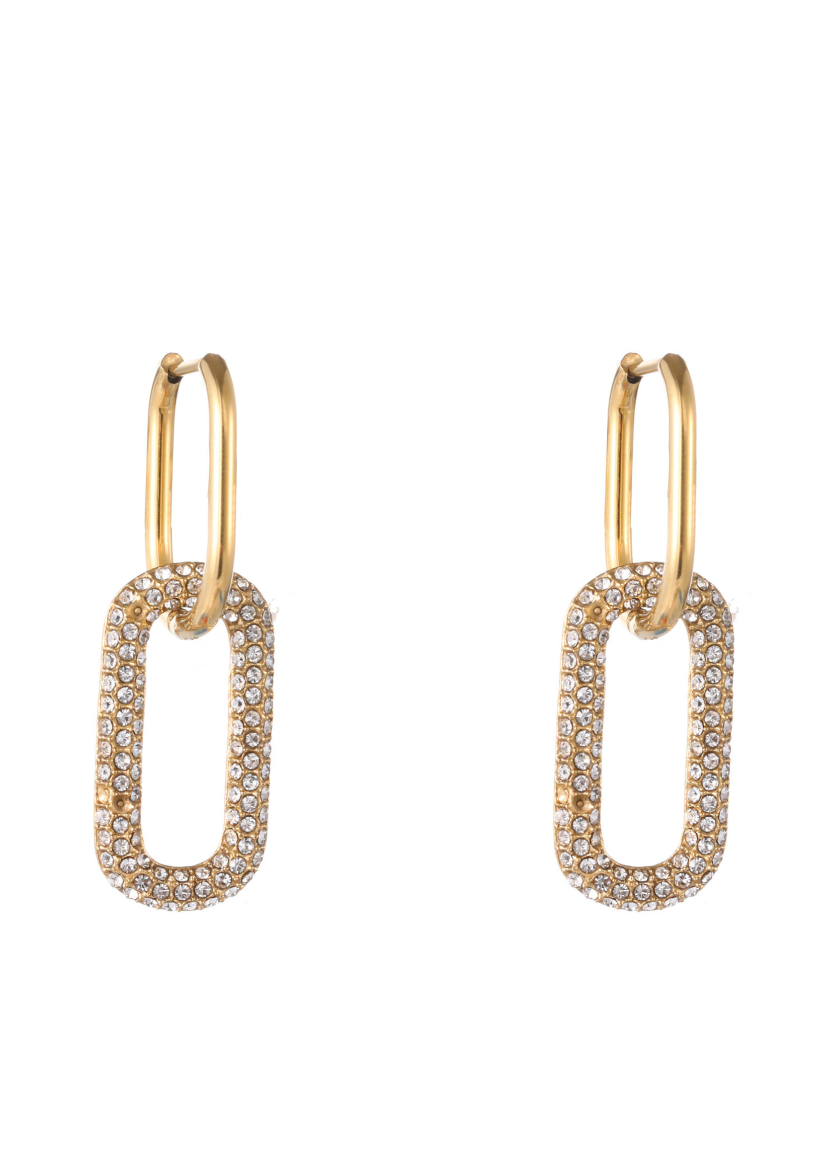 Oorbel goud hanger met crystal steentjes E1796-1