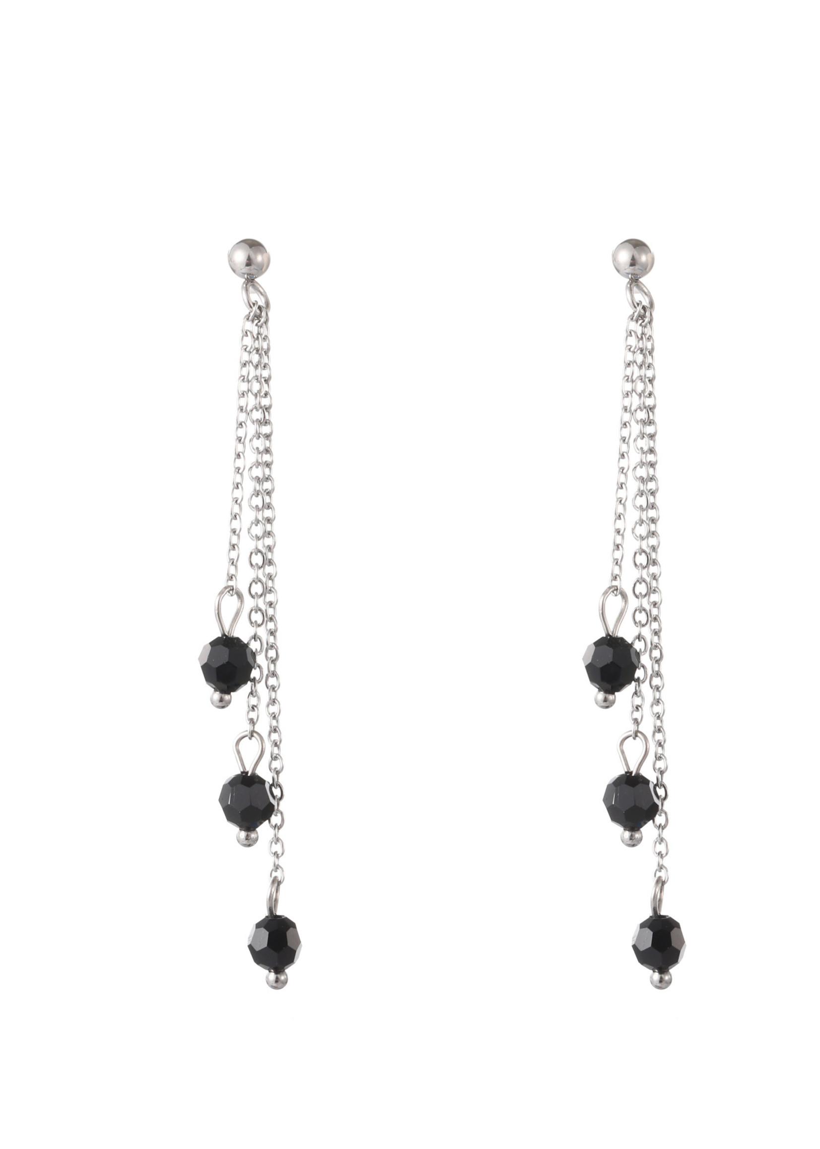 Oorbel zilver met 3 zwart steentjes E1819-1