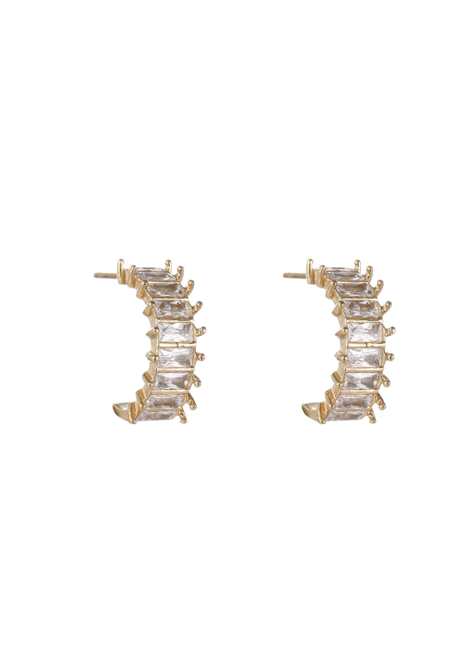 Oorbel goud met crystal steentjes E1821-1