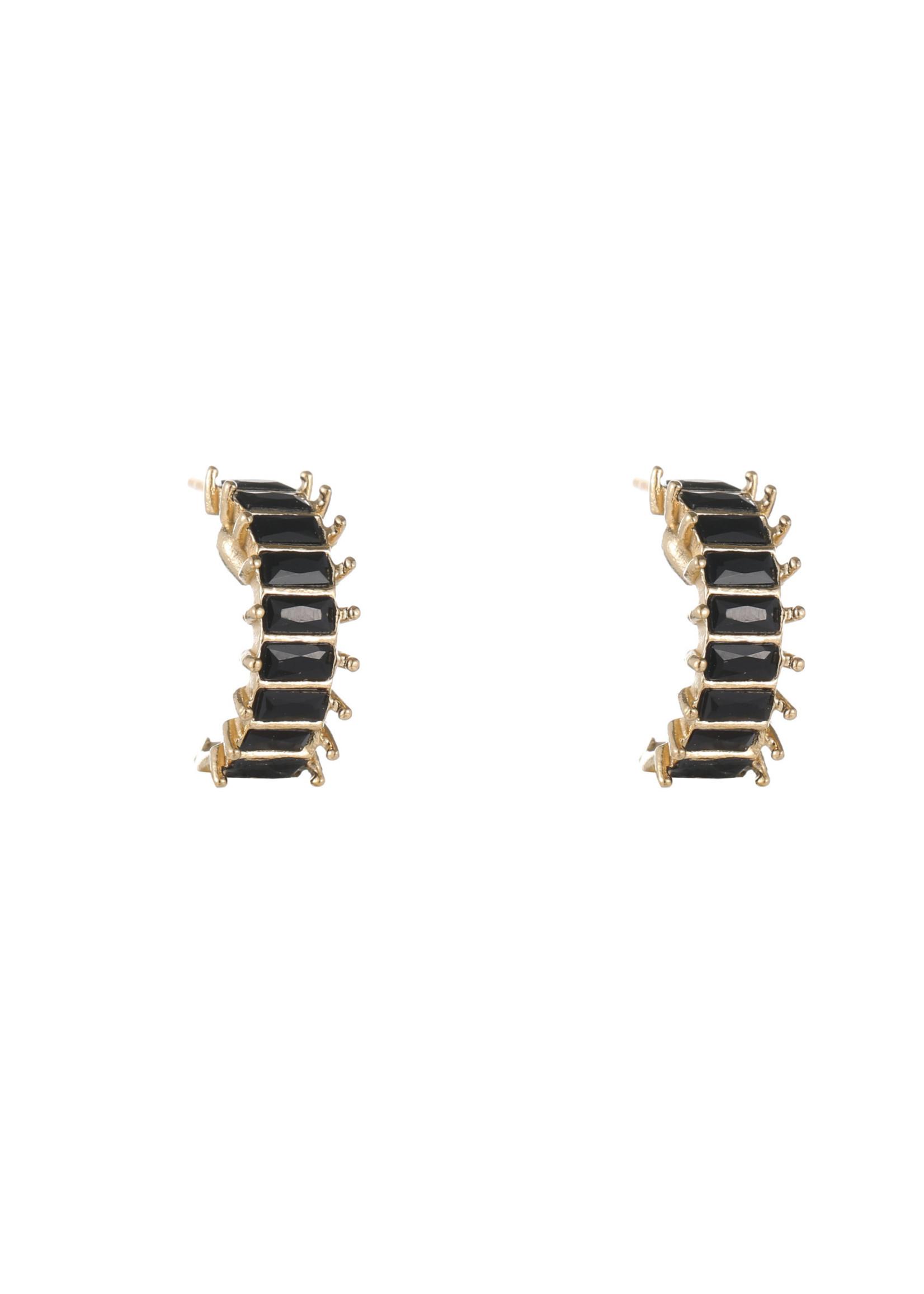 Oorbel goud met zwarte steentjes E1821-2