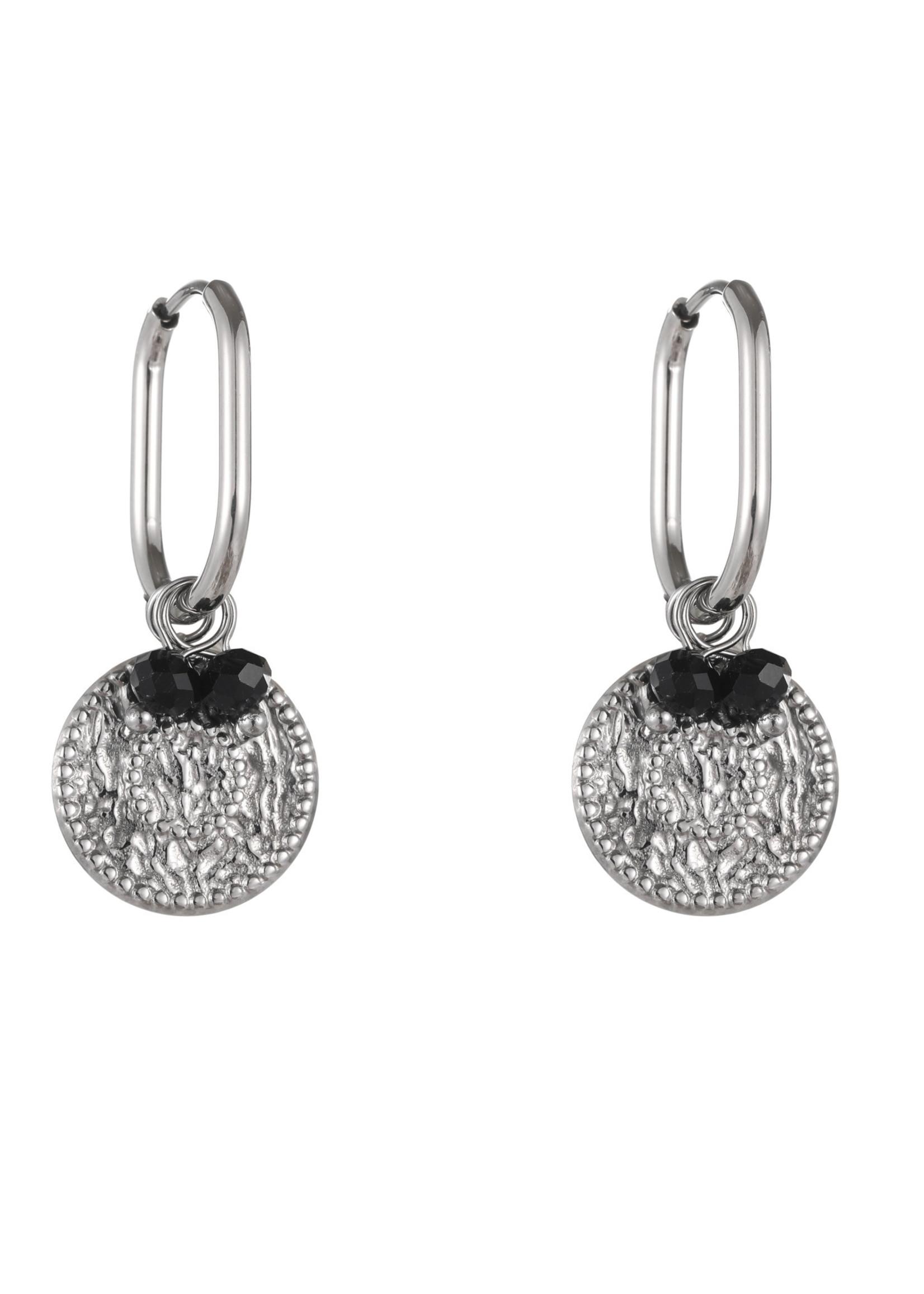 Oorbel zilver met hanger en zwart steentjes E1823-1