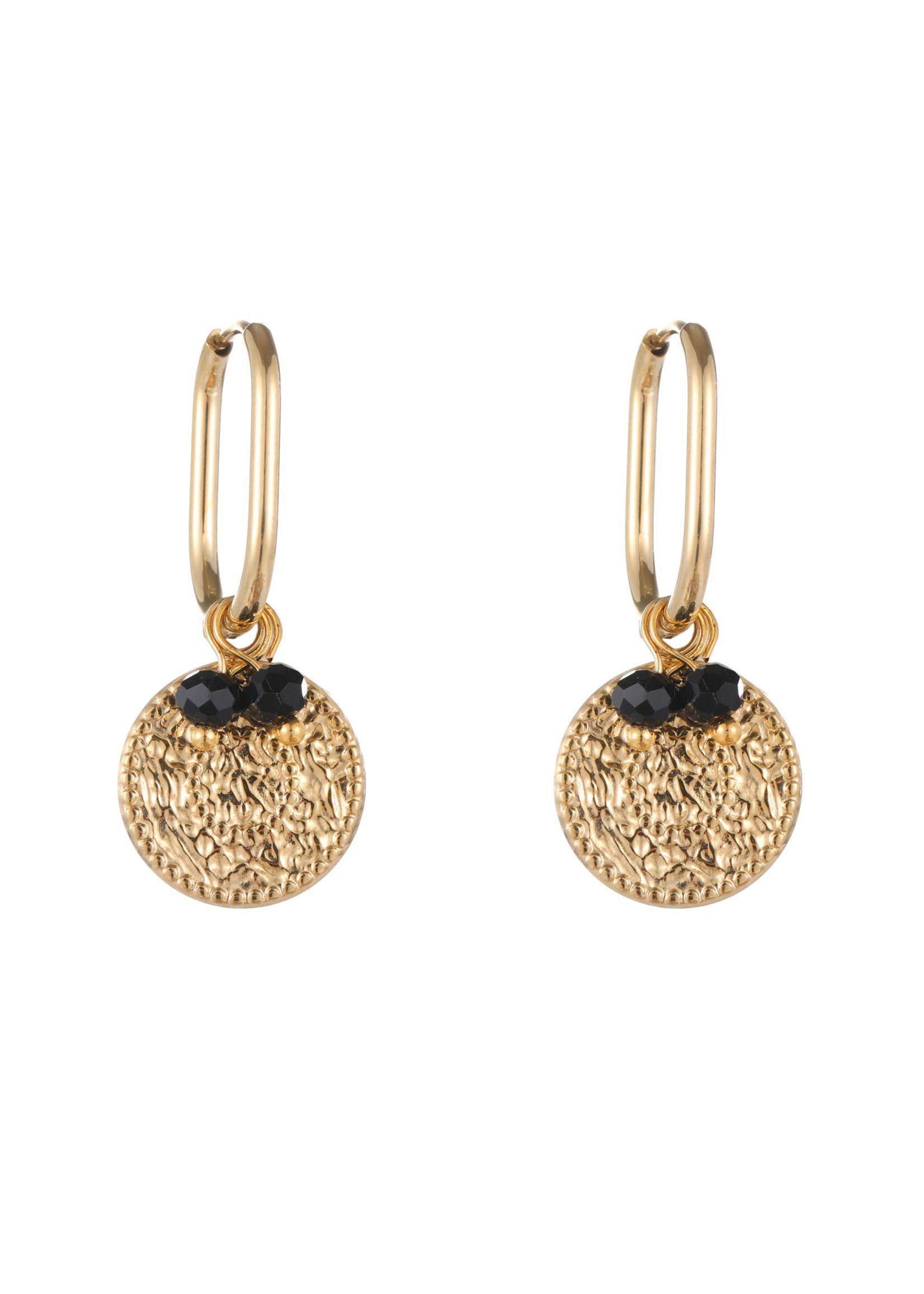 Oorbel goud met hanger en zwart steentjes E1823-2
