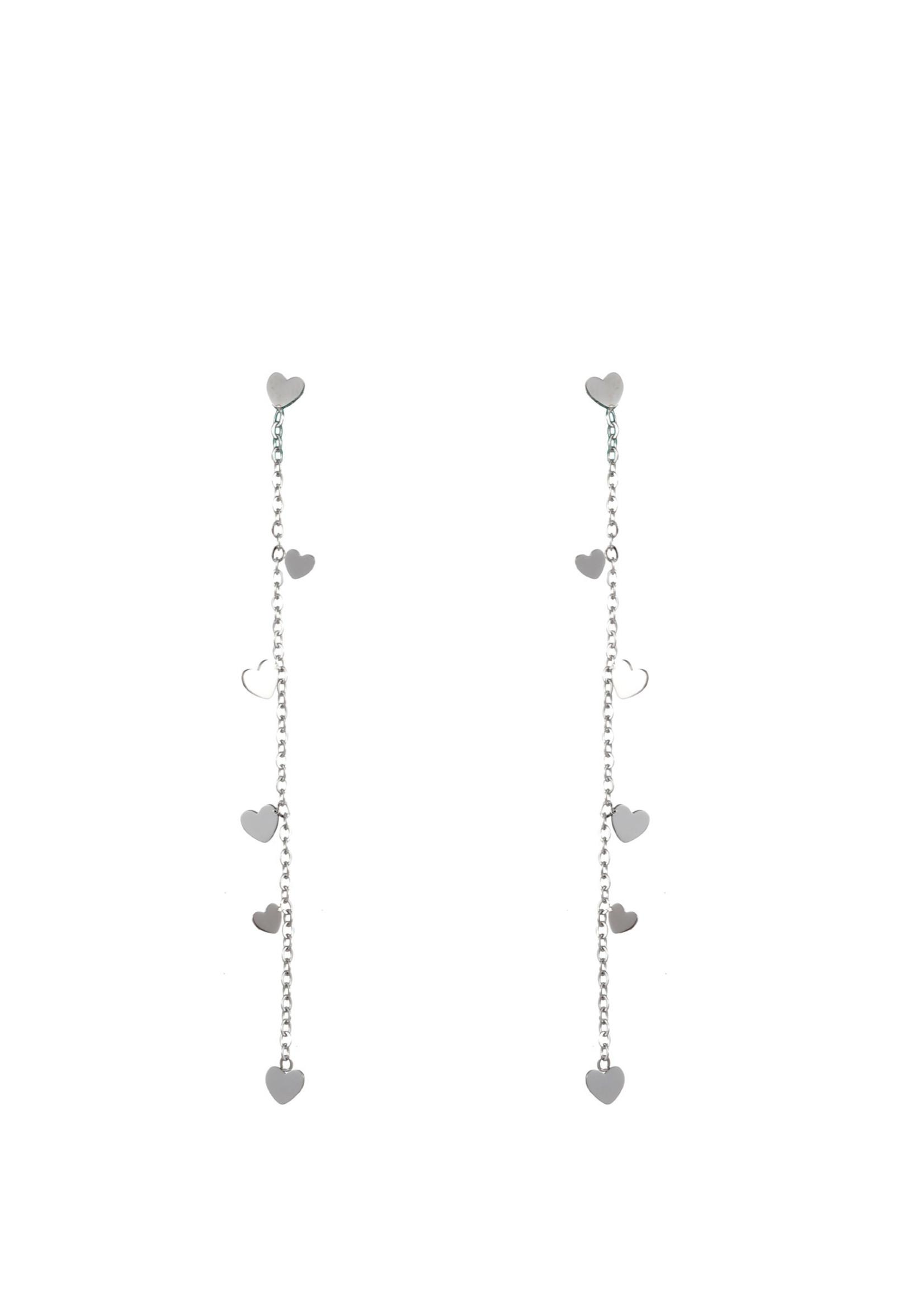Oorbel zilver met hartjes E1833-1