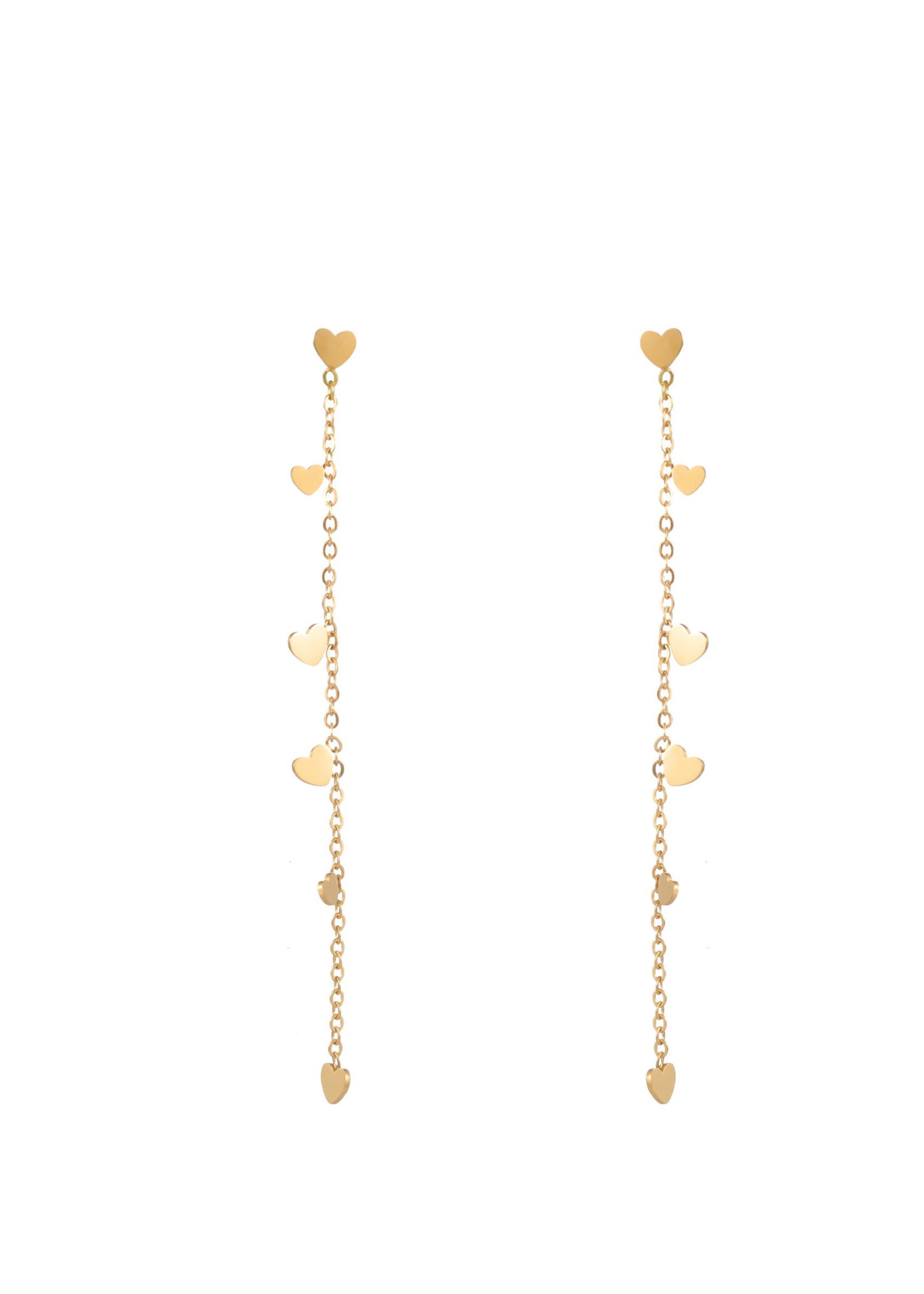 Oorbel goud met hartjes E1833-2