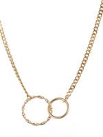 Ketting goud grof met 2 ringen N1710-2