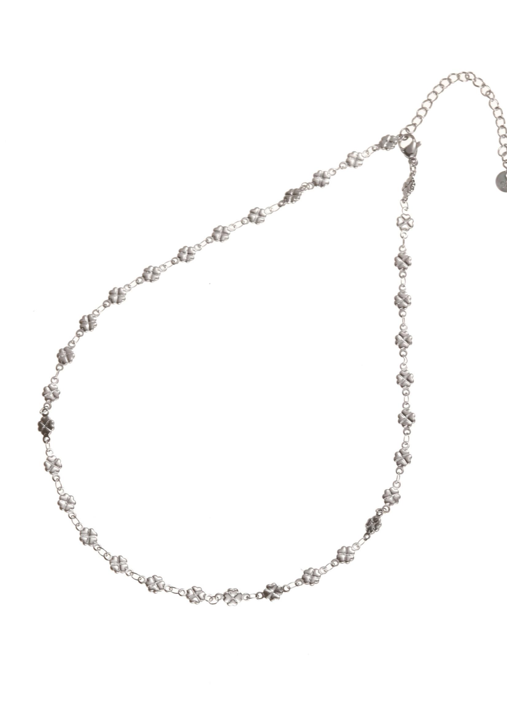 Ketting zilver klavertjesvier N1733-1