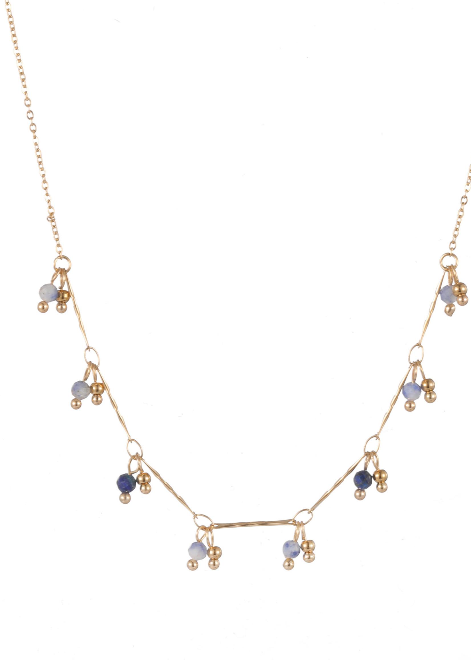 Ketting goud met blauwe steentjes N1761-3