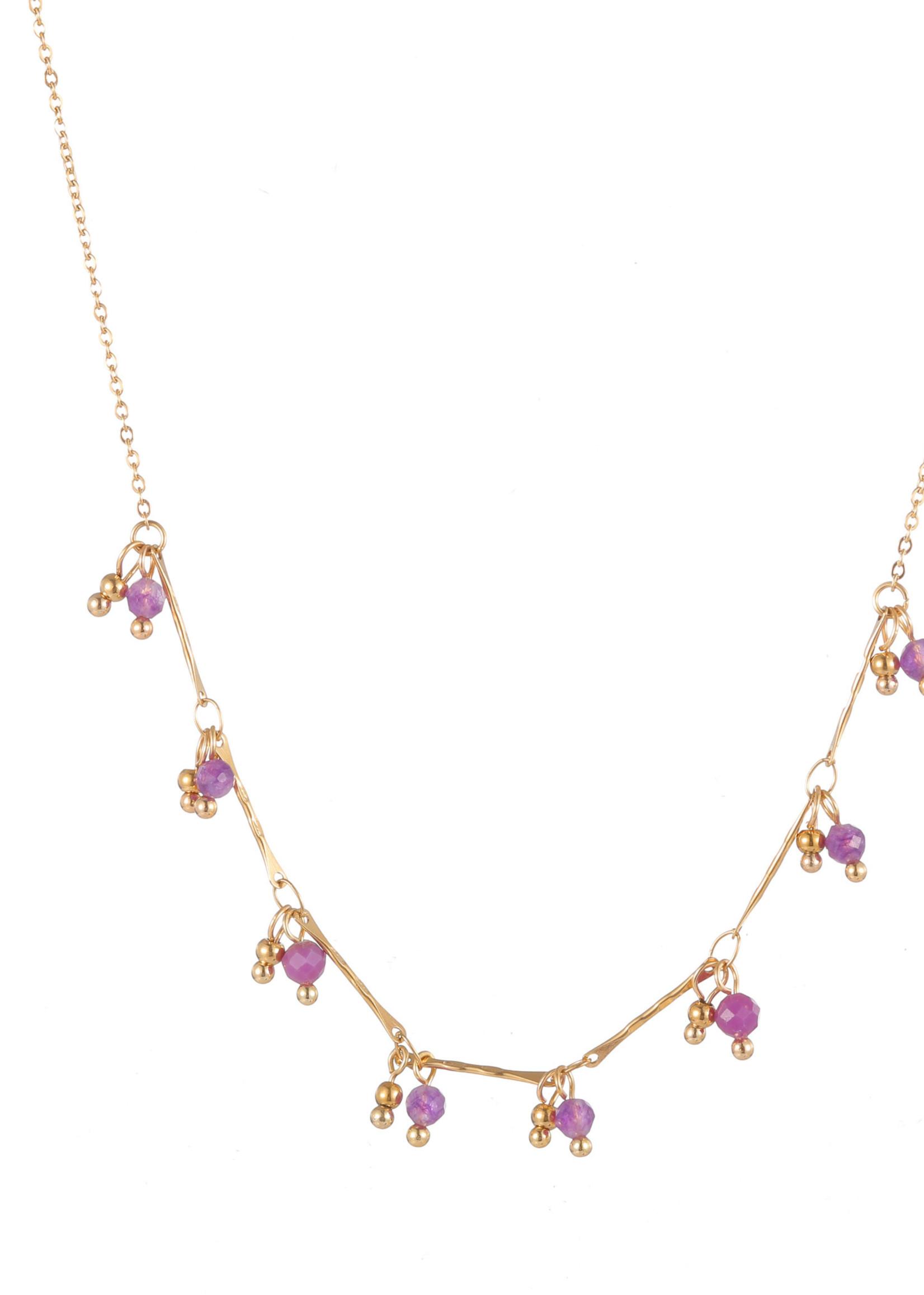 Ketting goud met paarse steentjes N1761-2