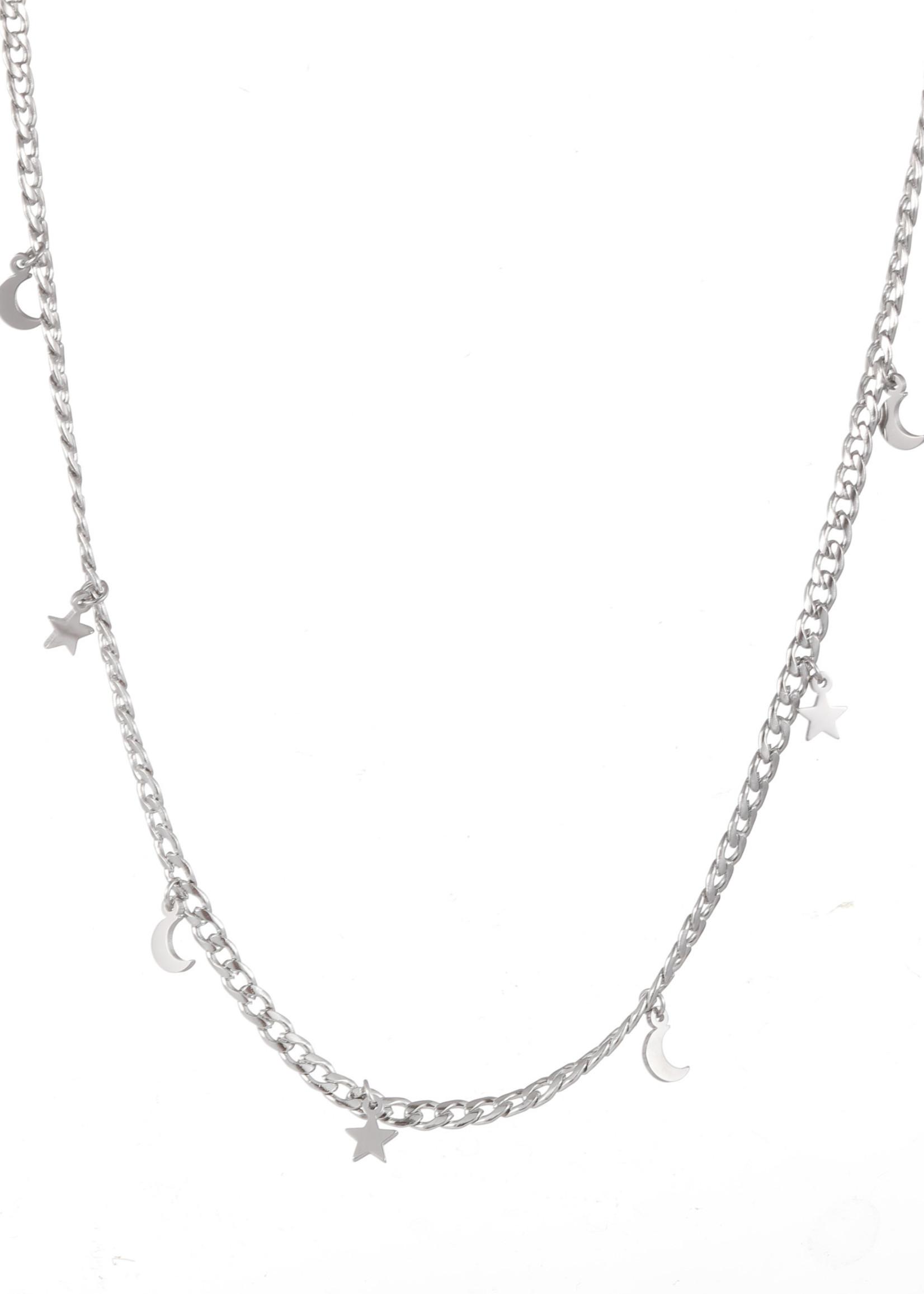 Ketting zilver sterretjes en maantjes N1773-1