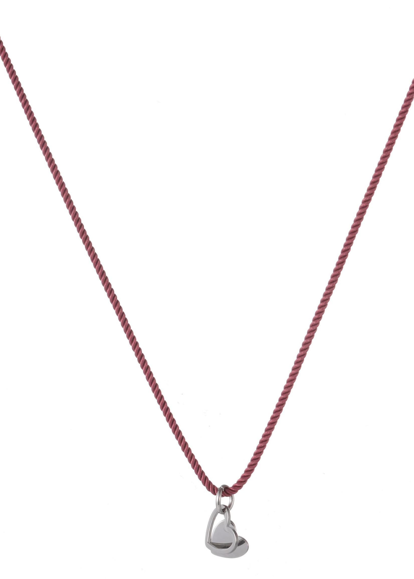 Ketting rood met zilveren hanger hartje N1824-1