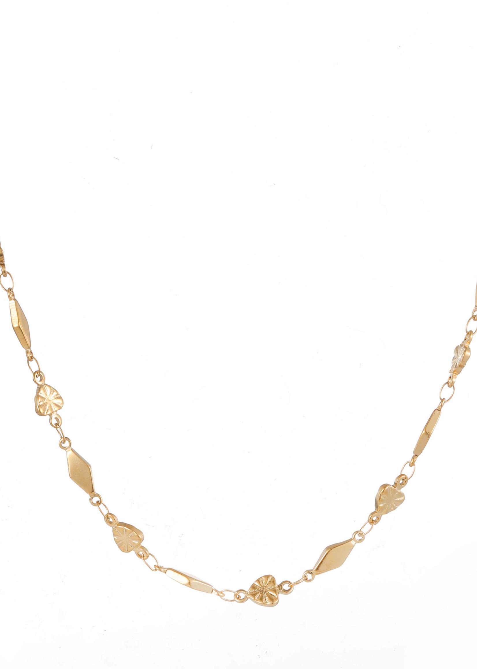 Ketting goud hartjes en ruitjes N1862-2