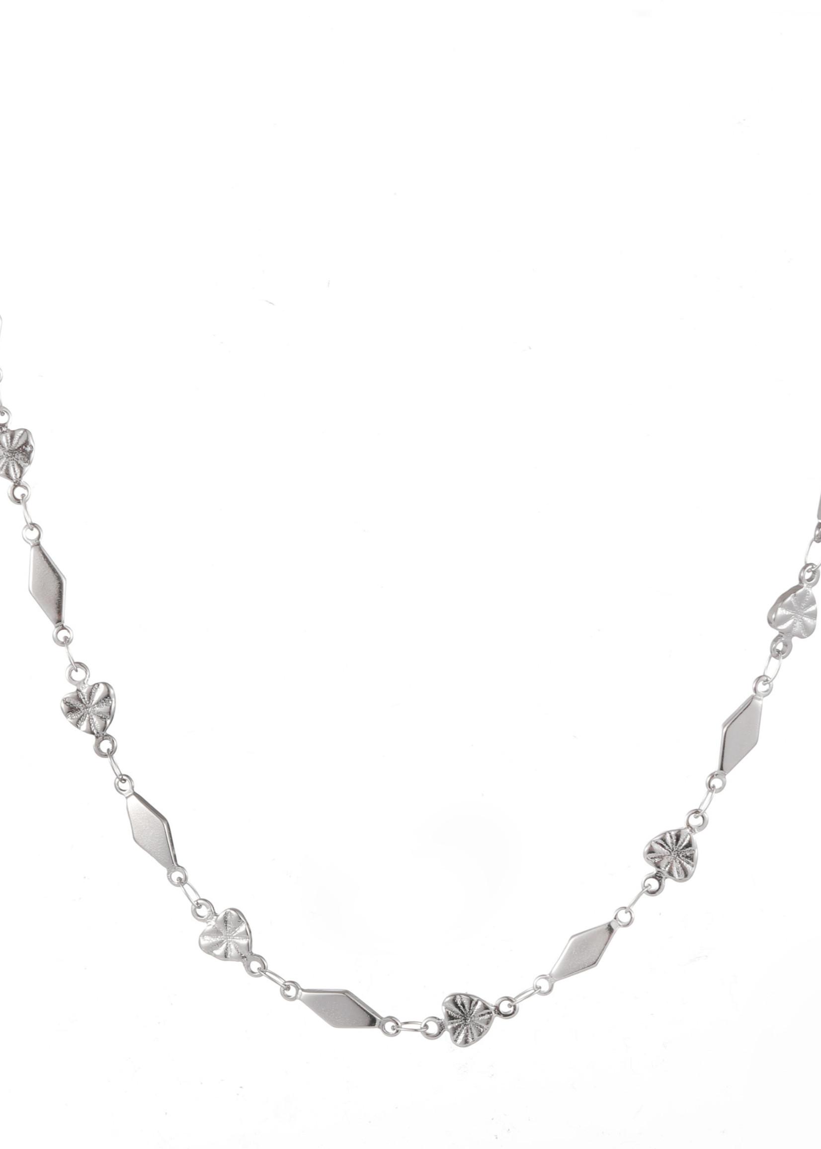 Ketting zilver hartjes en ruitjes N1862-1