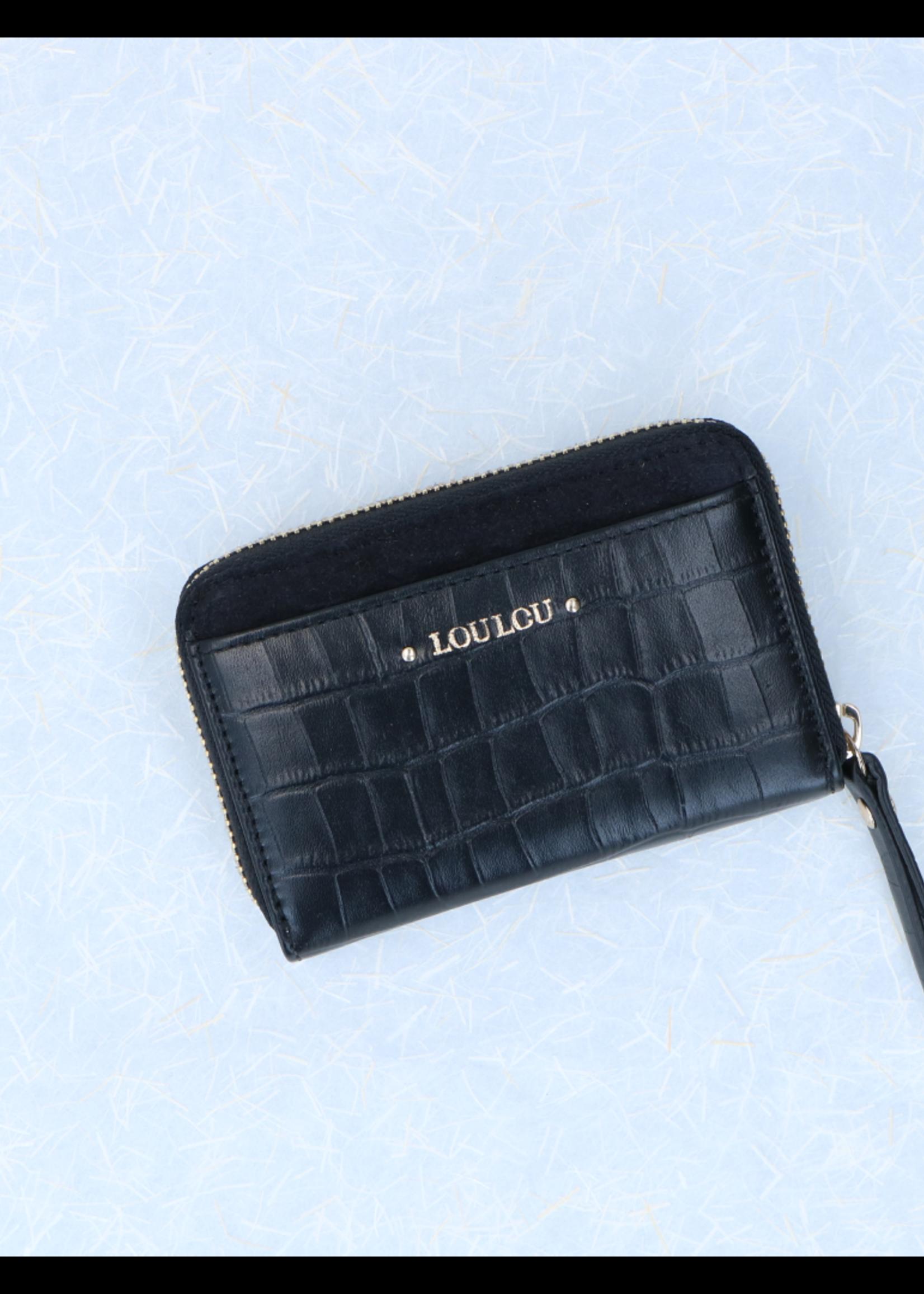 LouLou Kleine RFID Portemonnee Classy Croc - Zwart