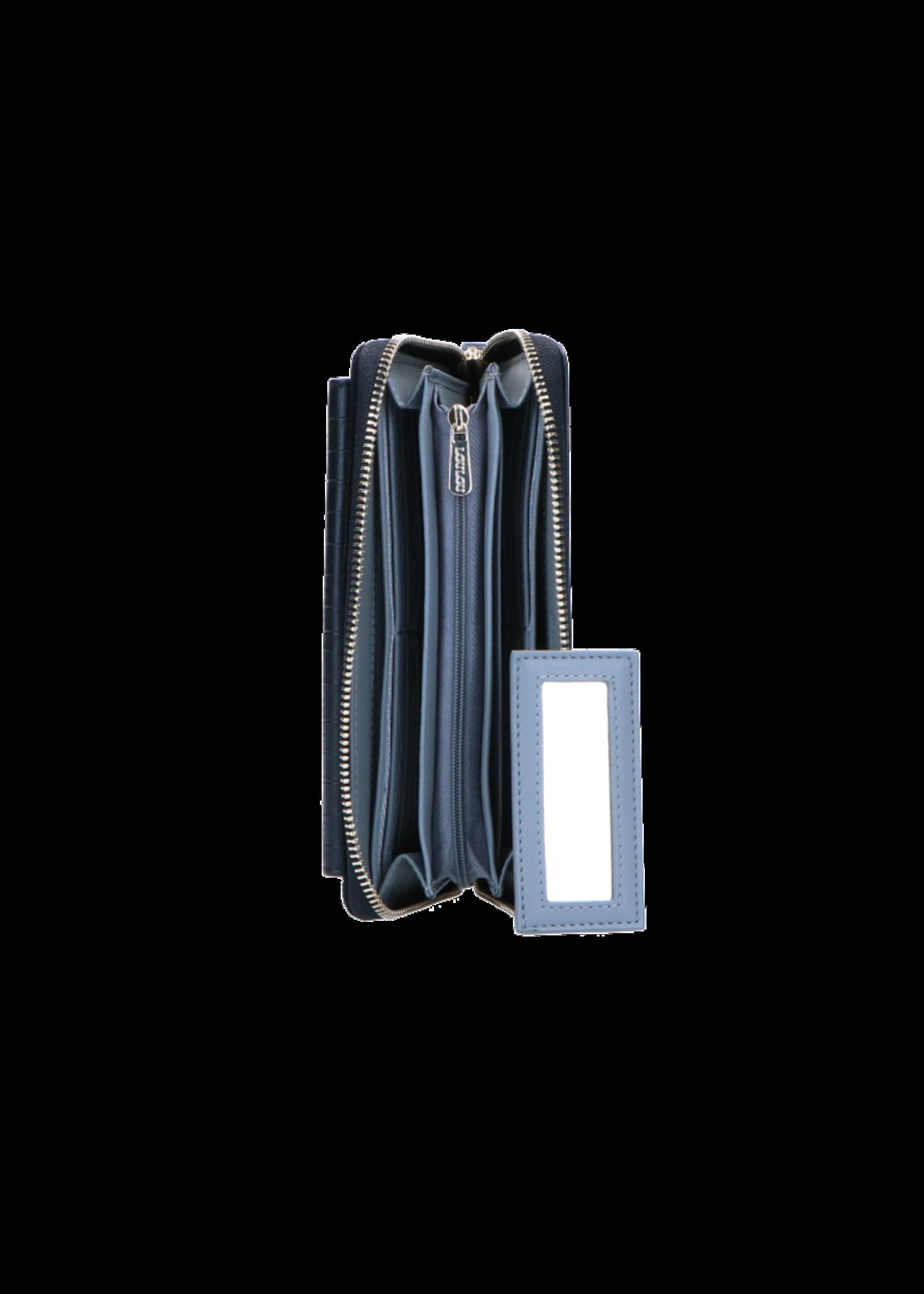 LouLou RFID Portemonnee Classy Croc - Zwart