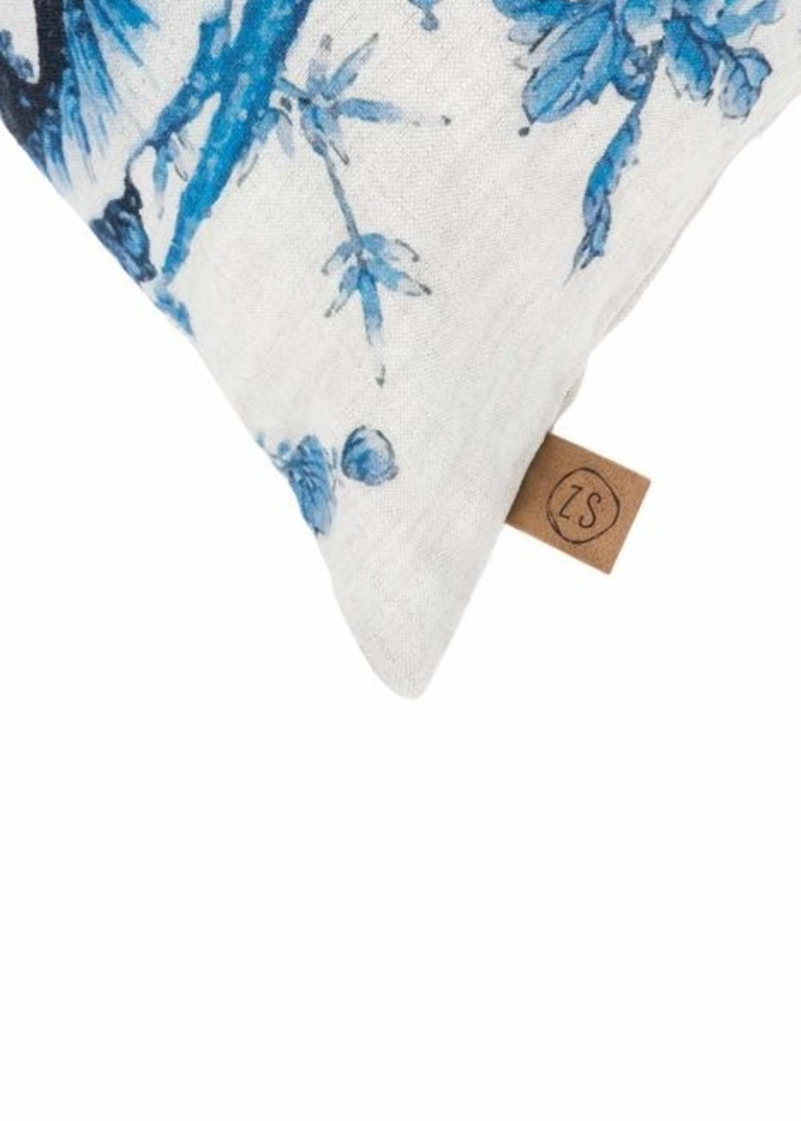 ZUSSS kussen met delfts blauw print 45x45cm peper en zout