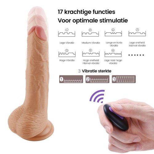 Op afstand bestuurbare vibrerende dildo, oplaadbaar en met zuignap