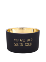 My Flame Geurkaars van sojawas in glazen pot.  Tekst: You are gold. Solid gold.