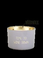 My Flame Geurkaars van sojawas in glazen pot.  Tekst: Time to wine down