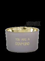 My Flame Geurkaars van sojawas in glazen pot.  Tekst: You are a diamond