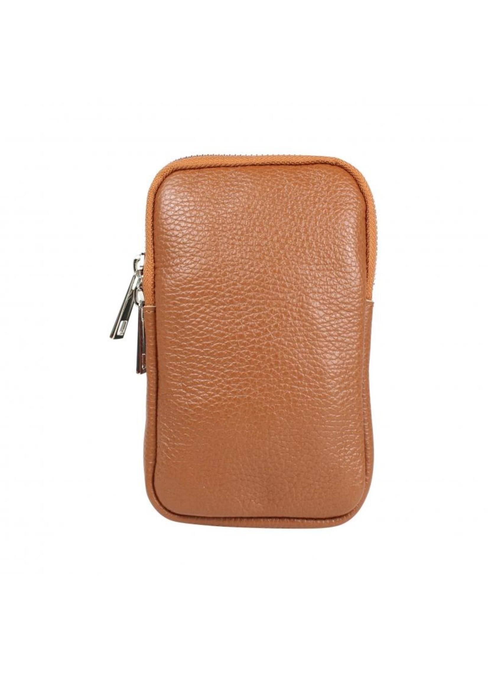 Baggyshop Call me up leather - Cognac (zilver)