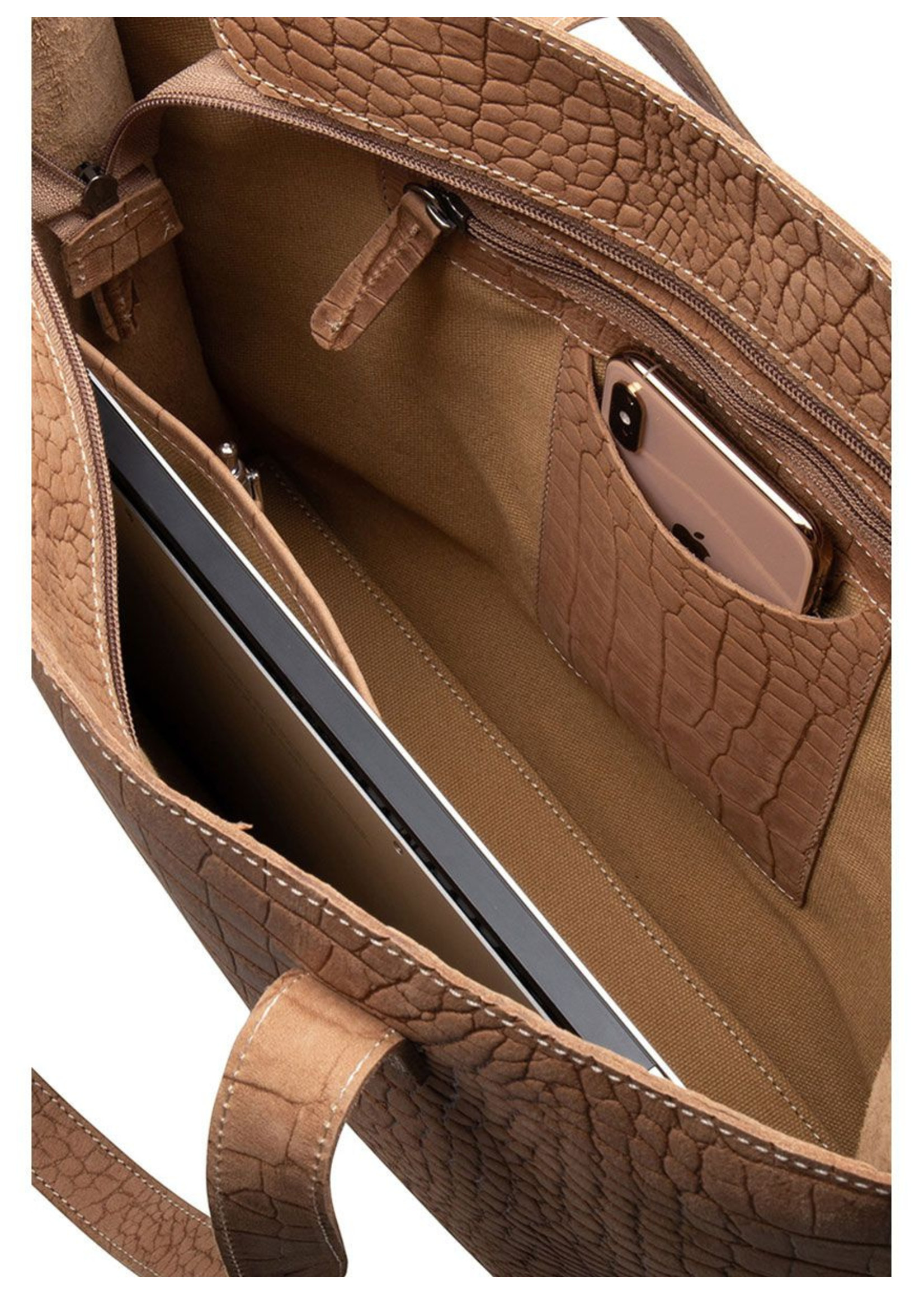 Chabo Bags Worker Croco Madrid Laptop bag Camel