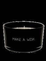 My Flame Geurkaars van sojawas in glazen pot.  Tekst: Make a wish