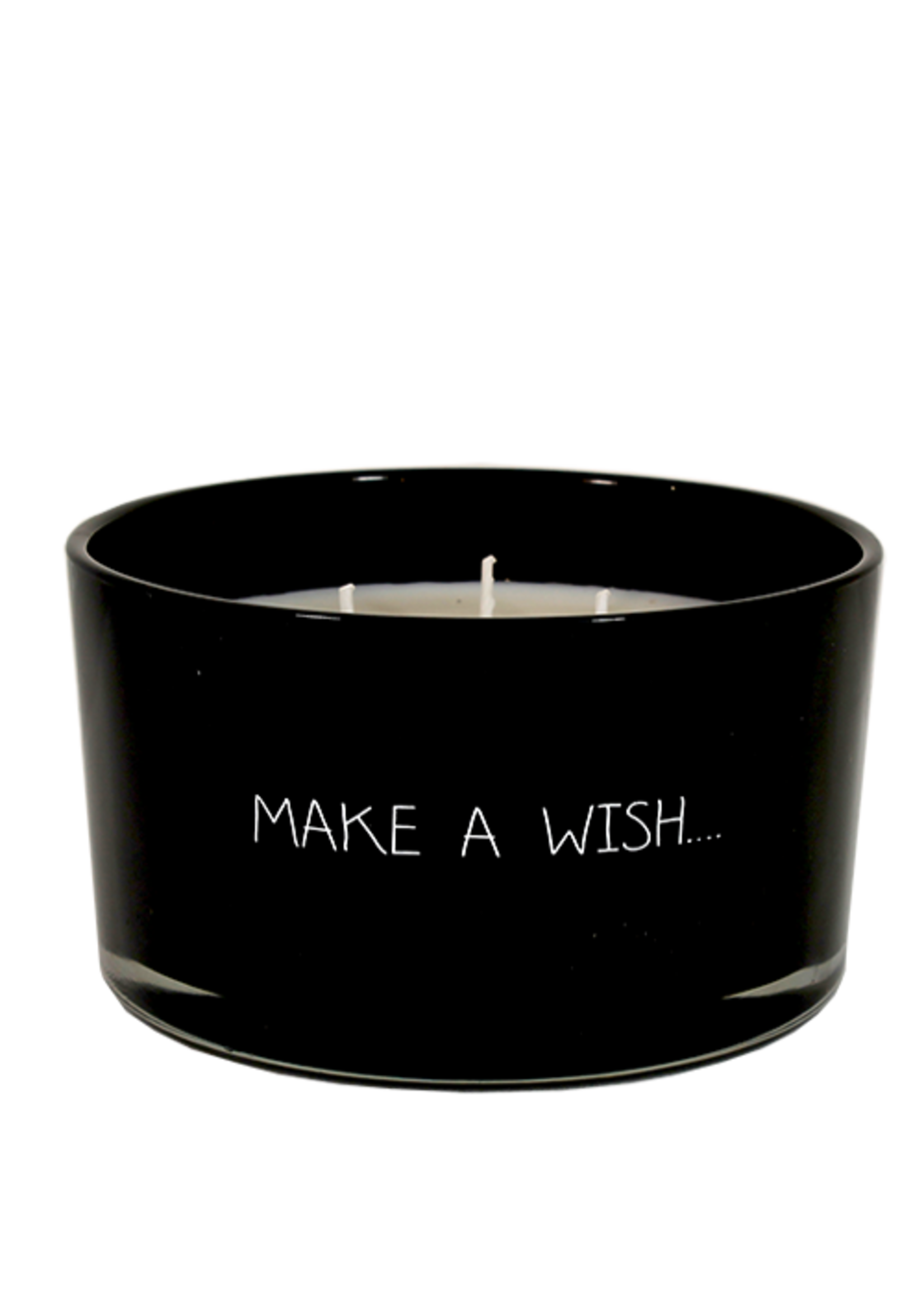 My Flame Geurkaars van sojawas in glazen pot.  Tekst: Make a wish…
