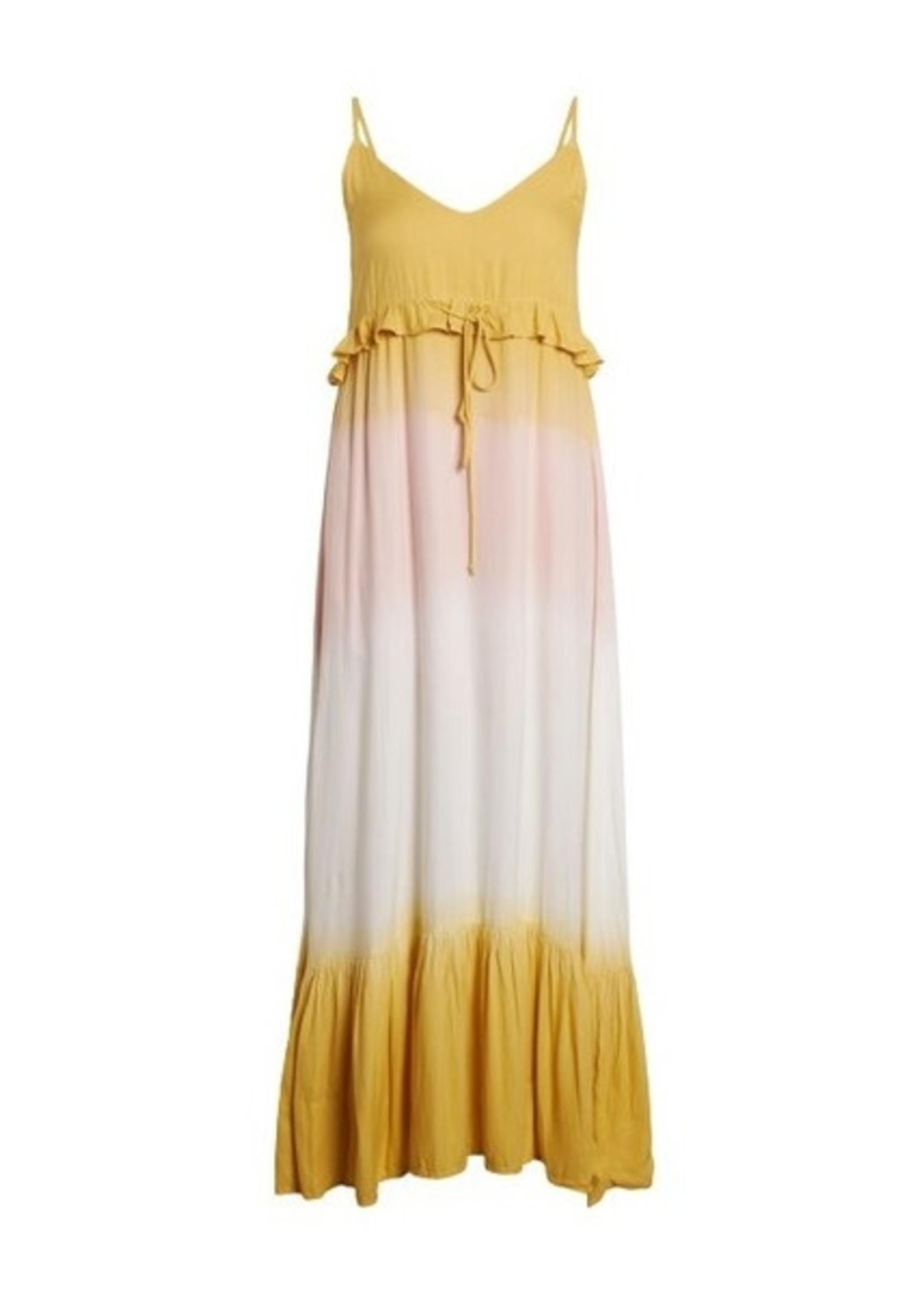 SisterS Point Idda geel-roze dip-dye lange jurk