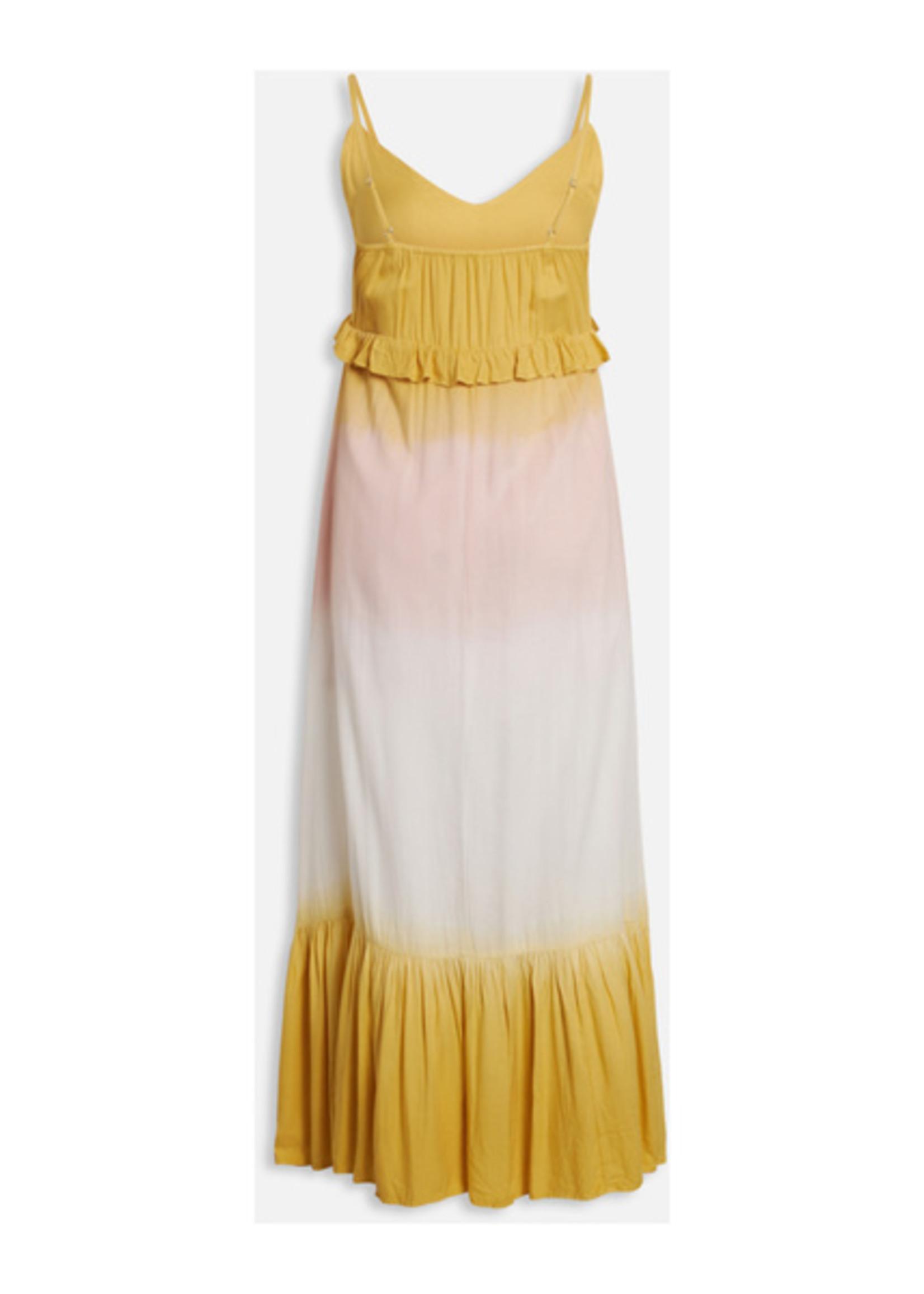 Sisterspoint Idda geel-roze dip-dye lange jurk