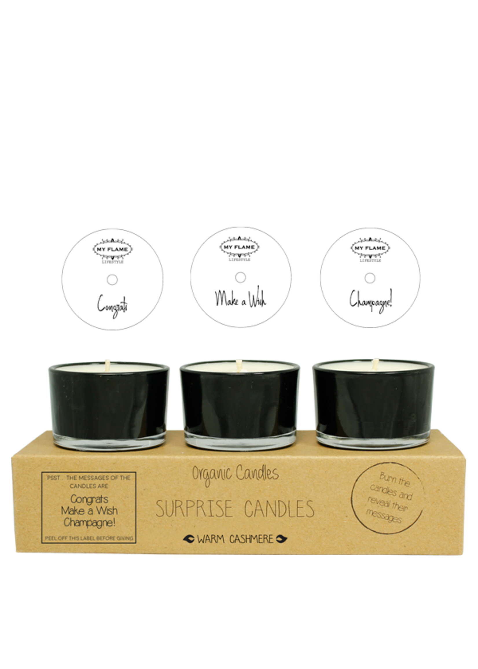 My Flame Surprise soy candles Black -Congratz, Champagne, Make a wish!