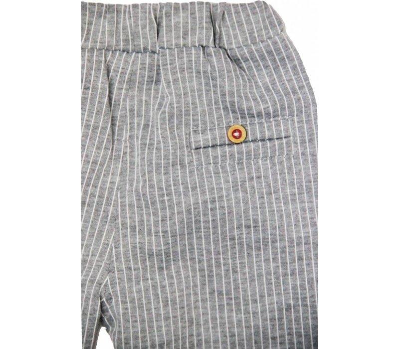 Broek-grijs met witte strepen