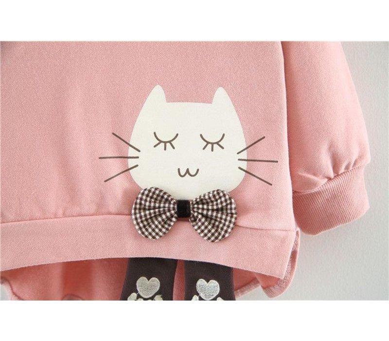 Sweatshirt - poes - roze