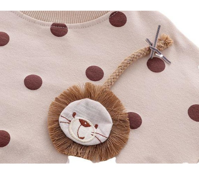 Sweatshirt - dots - leeuw