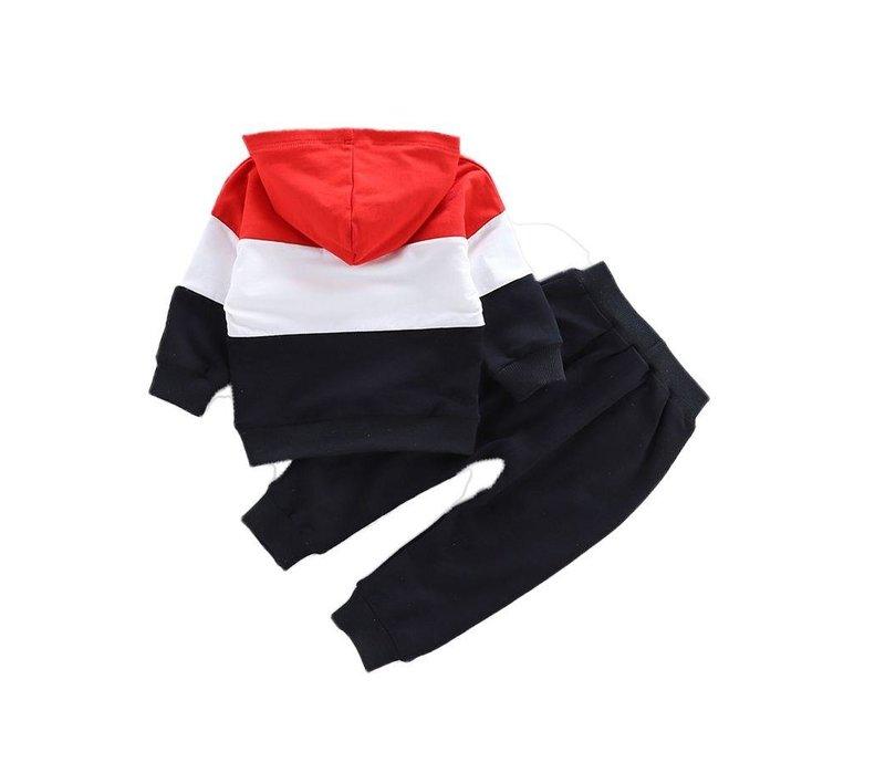 Set - joggingpak - rood - zwart