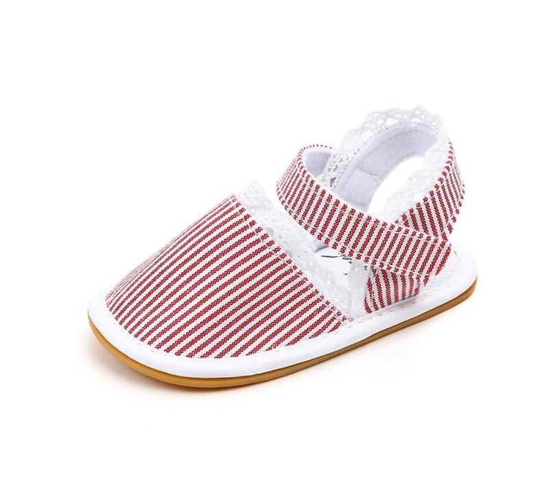Sandalen - strepen - kant