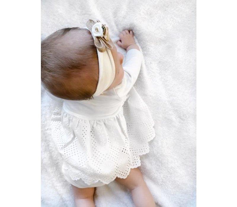 Set - kanten jurk met bloomer -wit